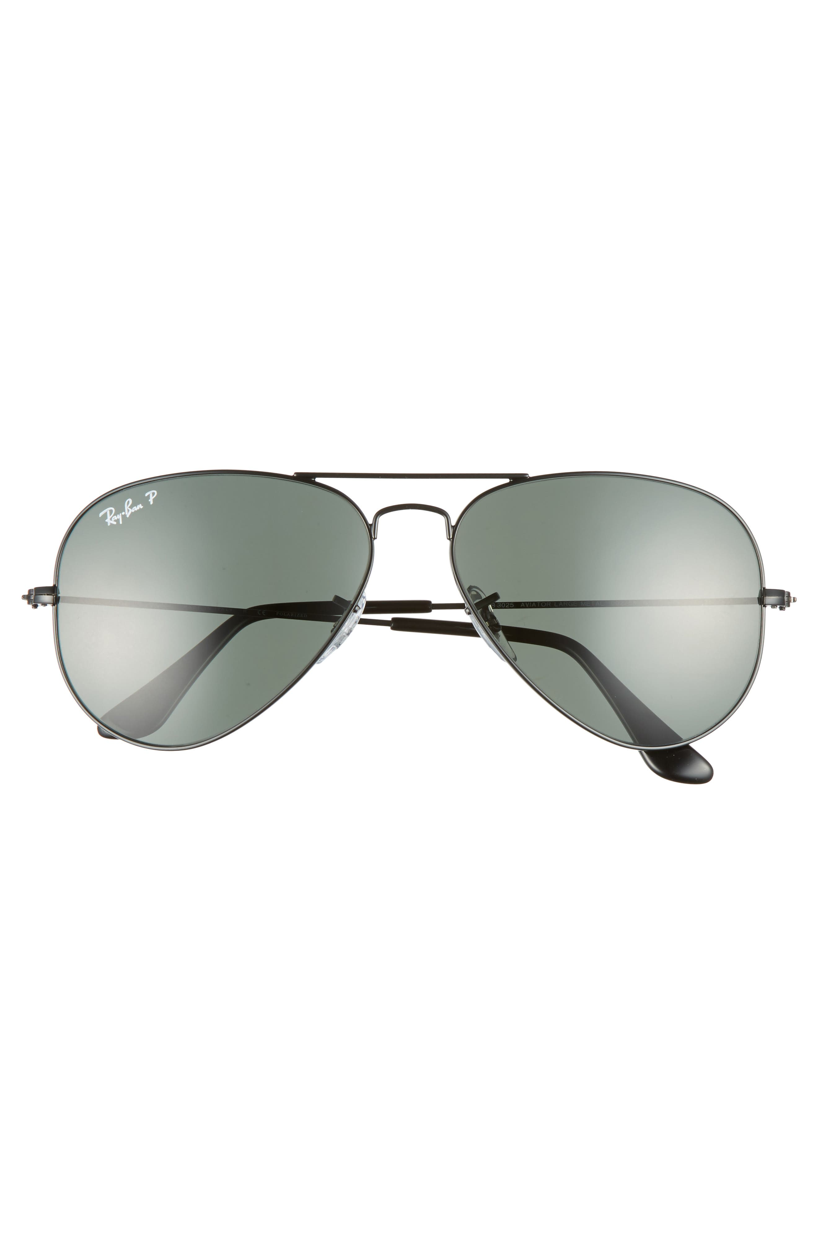 RAY-BAN, Original 58mm Aviator Sunglasses, Alternate thumbnail 3, color, BLACK