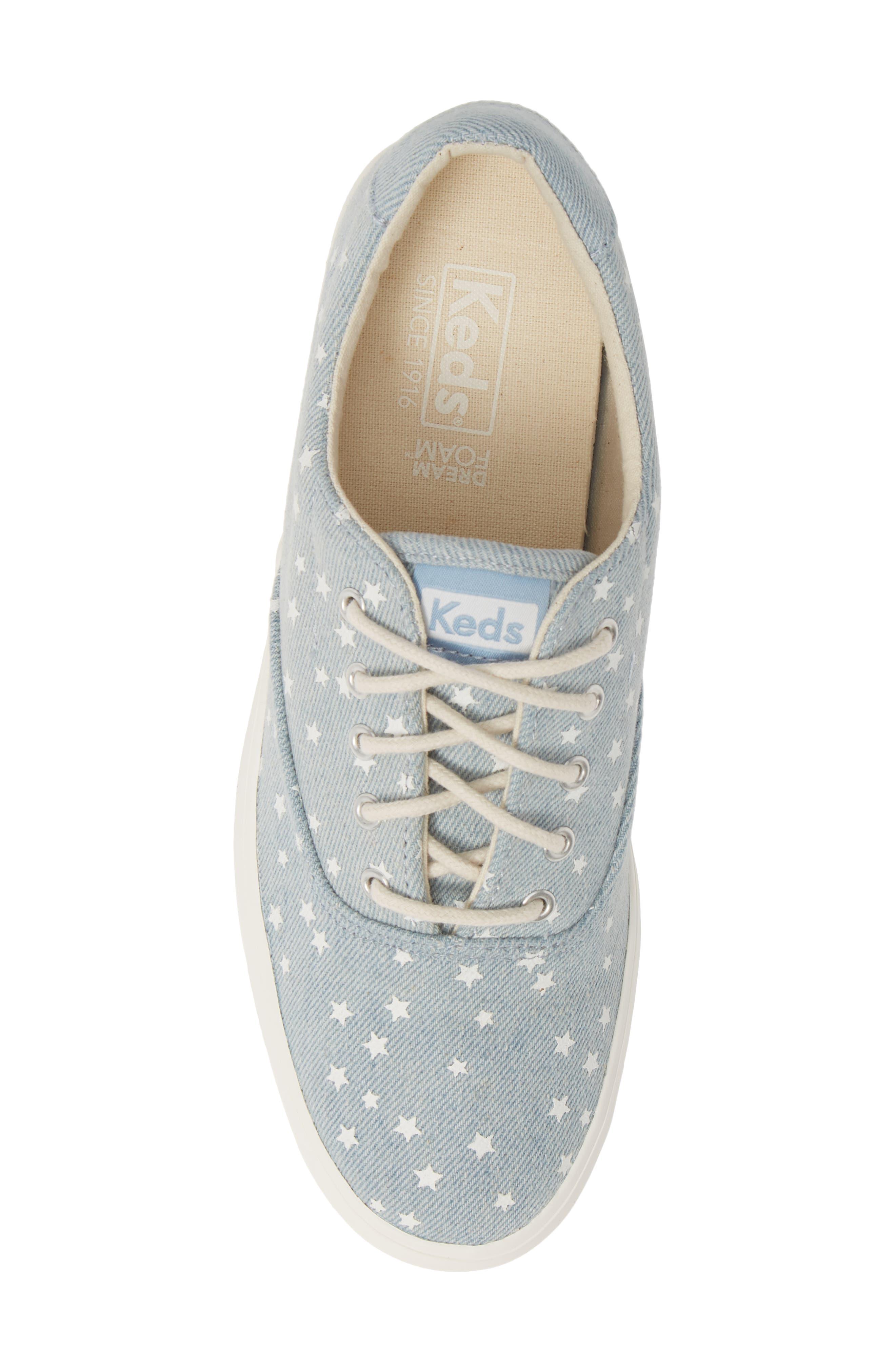 KEDS<SUP>®</SUP>, Rise Denim Star Sneaker, Alternate thumbnail 5, color, LIGHT BLUE