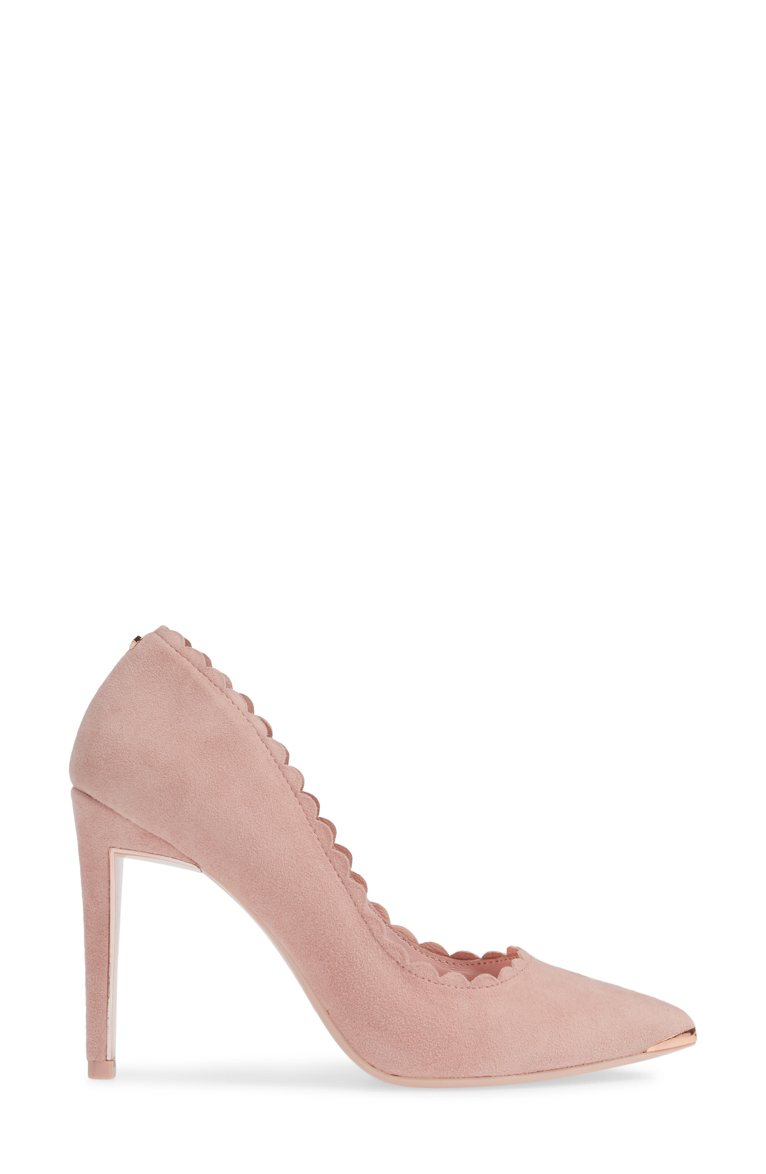 TED BAKER LONDON, Sloana Pointy Toe Pump, Alternate thumbnail 3, color, PINK BLOSSOM SUEDE