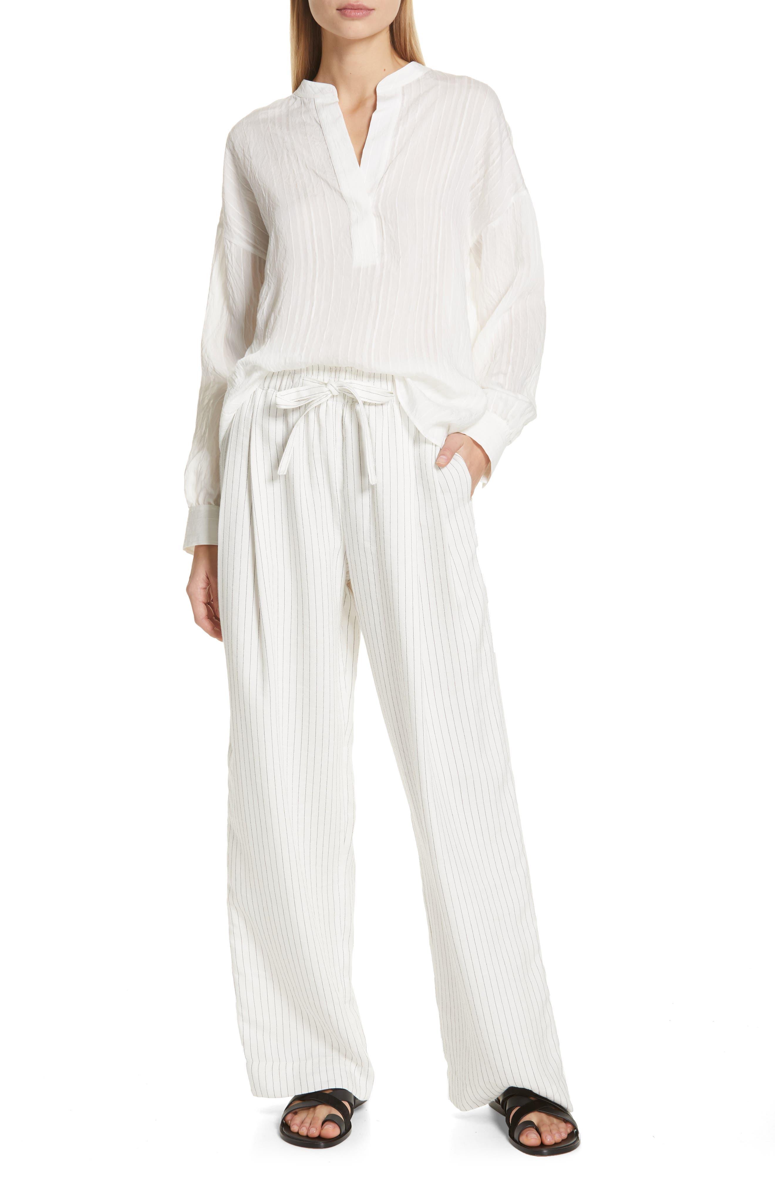 VINCE, Stripe Drop Sleeve Shirt, Alternate thumbnail 7, color, OPTIC WHITE