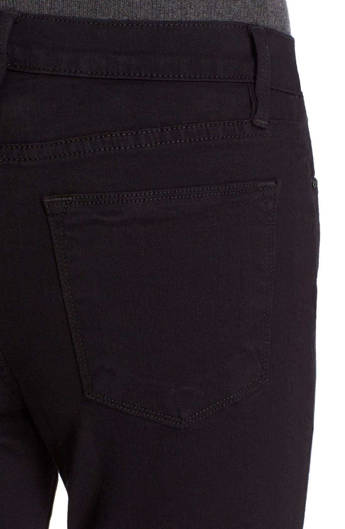 FRAME, Le High Straight High Waist Staggered Hem Jeans, Alternate thumbnail 4, color, FILM NOIR
