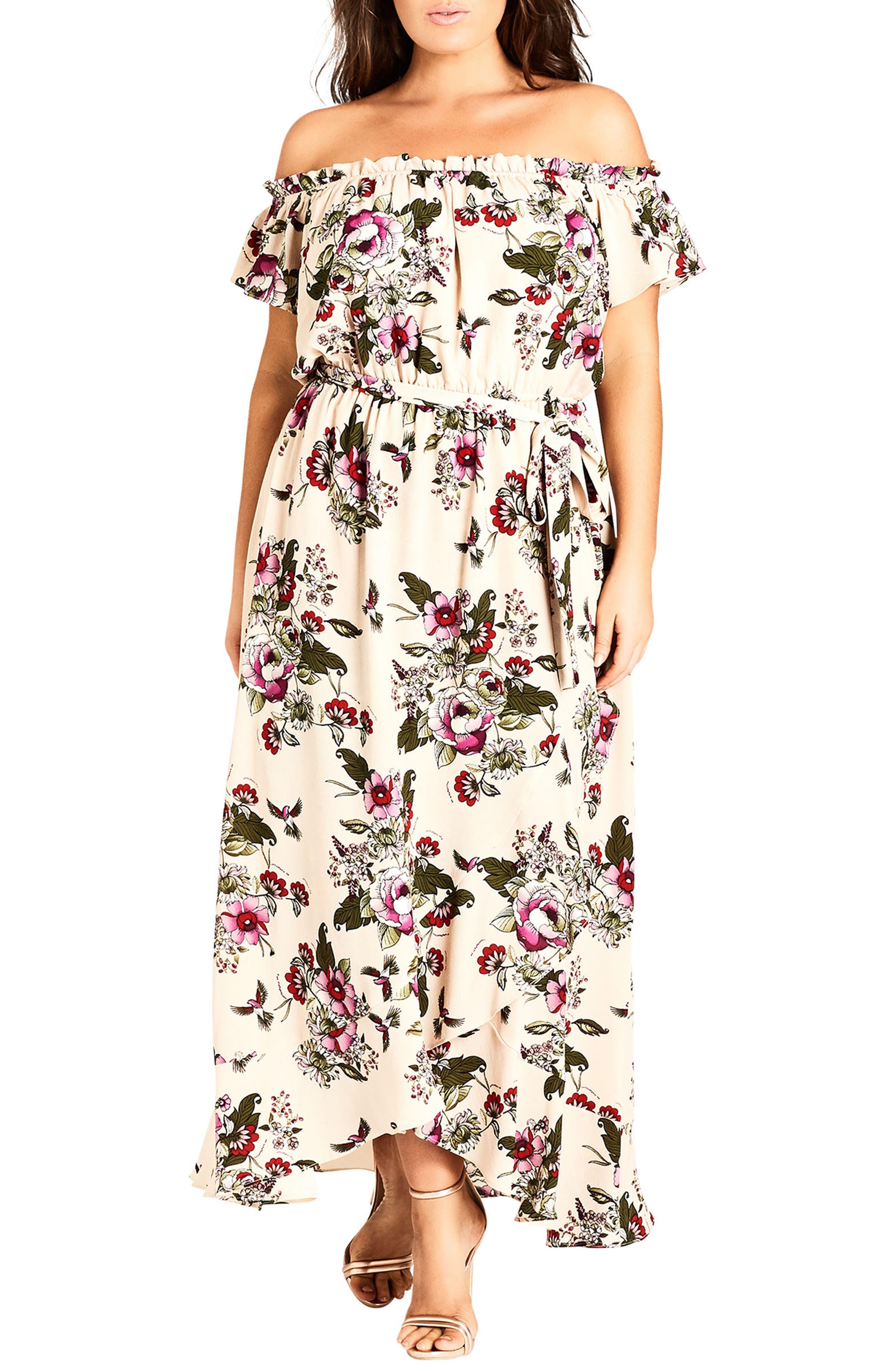 Plus Size City Chic Lolita Floral Off The Shoulder Maxi Dress, White