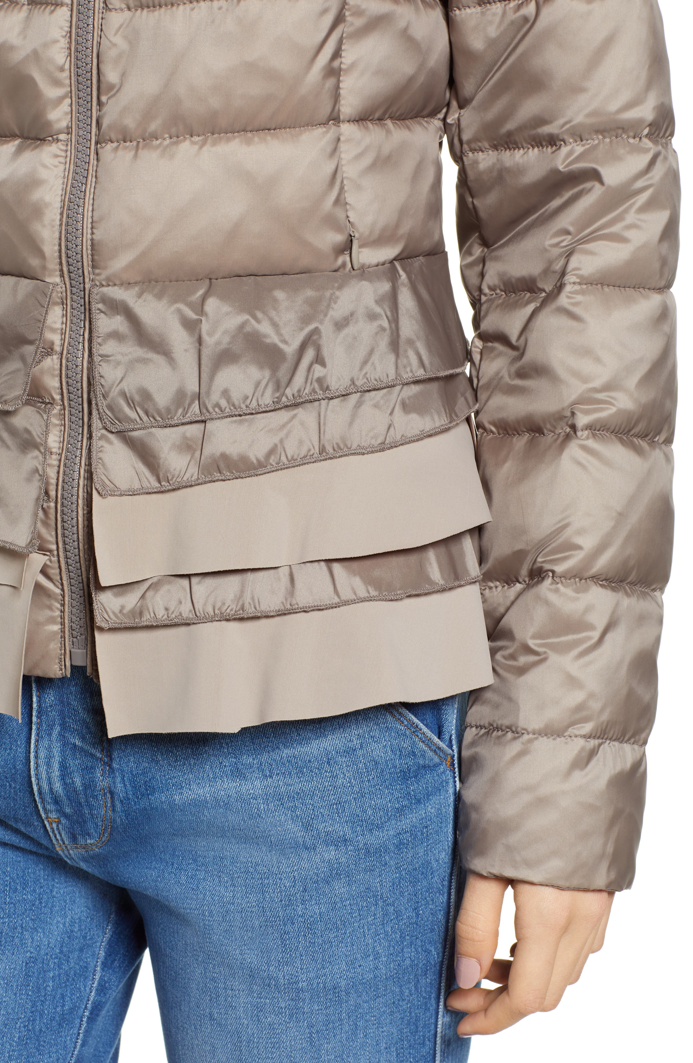 TAHARI, Zoey Ruffle Hem Puffer Jacket, Alternate thumbnail 5, color, TRUFFLE