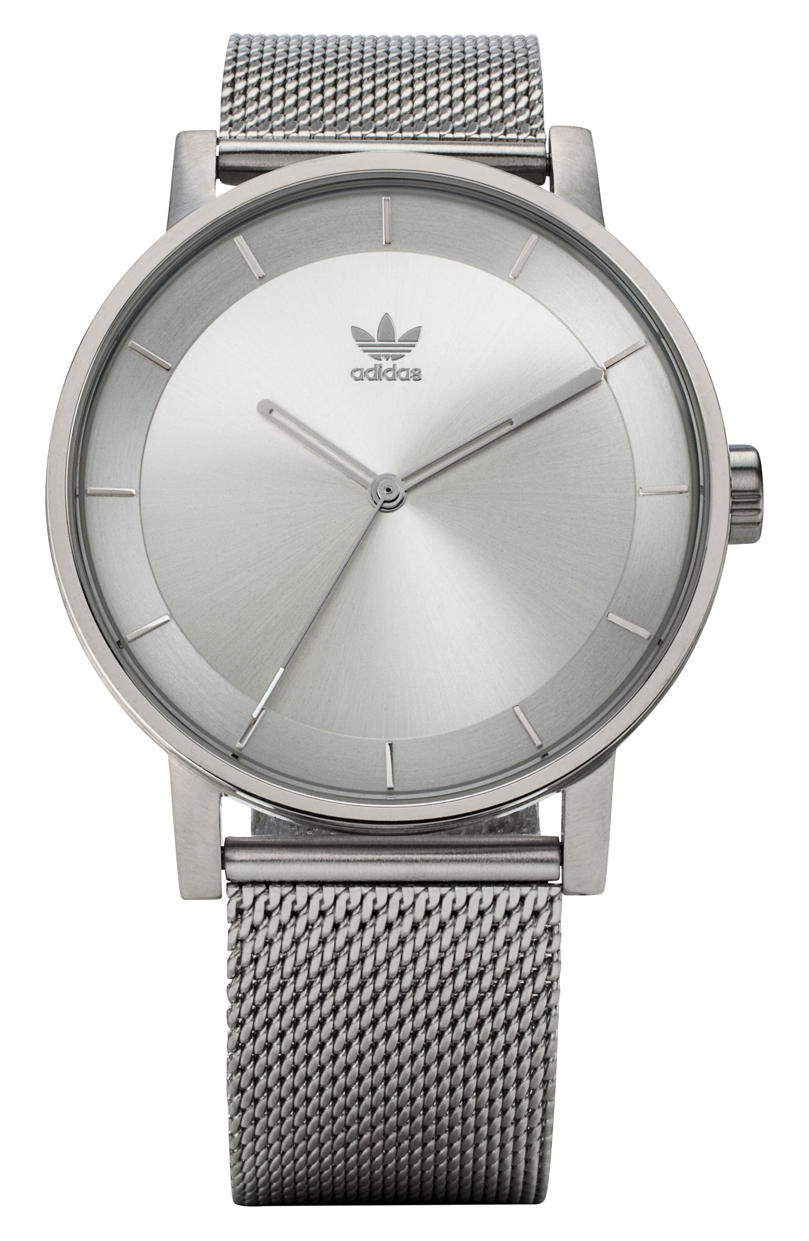 ADIDAS, District Milanese Bracelet Watch, 40mm, Main thumbnail 1, color, SILVER