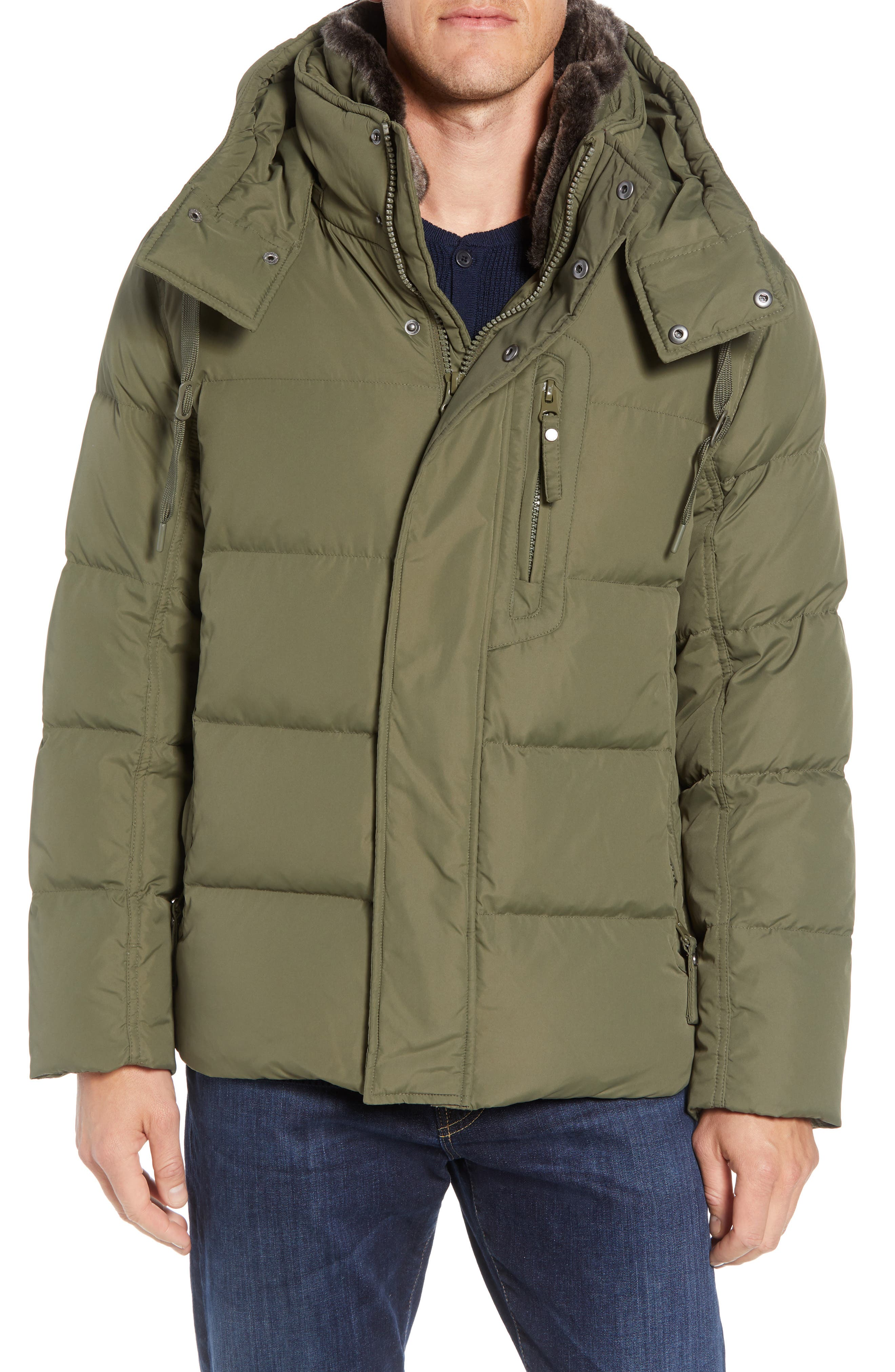 MARC NEW YORK Baltic Faux Fur Trim Down & Feather Fill Parka, Main, color, MOSS
