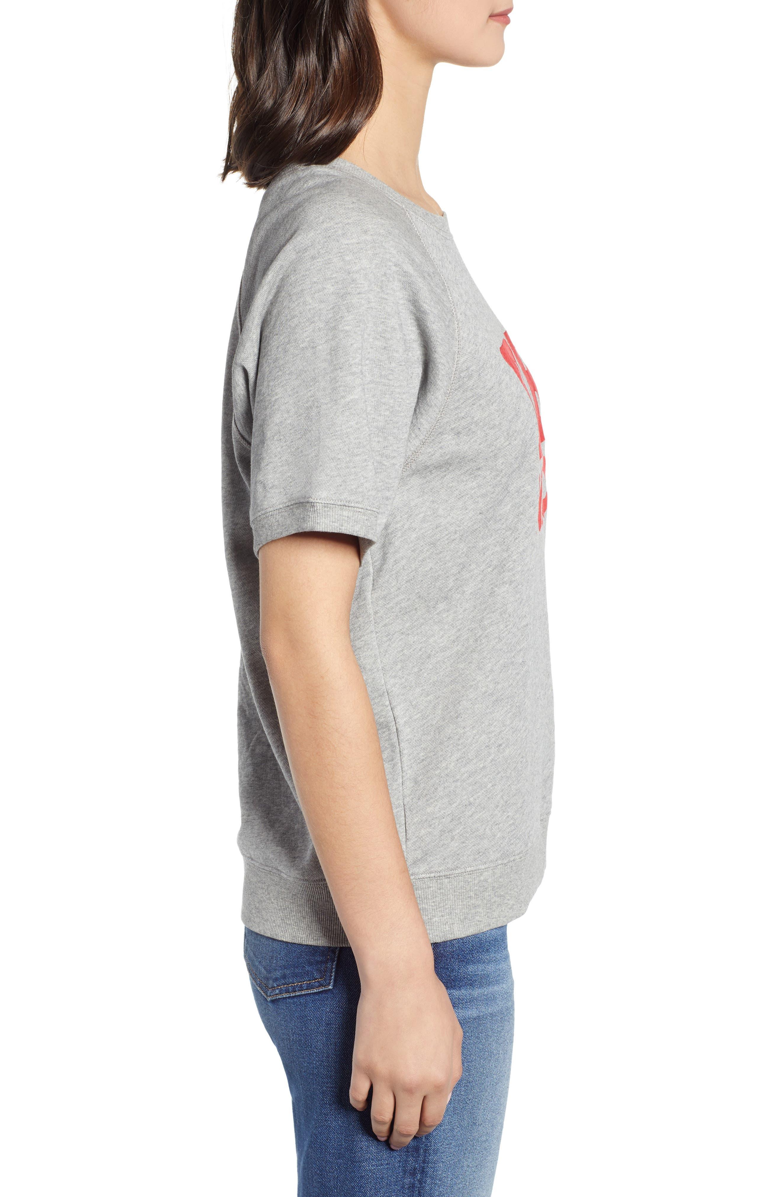 BAN.DO, Be Nice Flocked Short Sleeve Cotton Sweatshirt, Alternate thumbnail 3, color, GREY