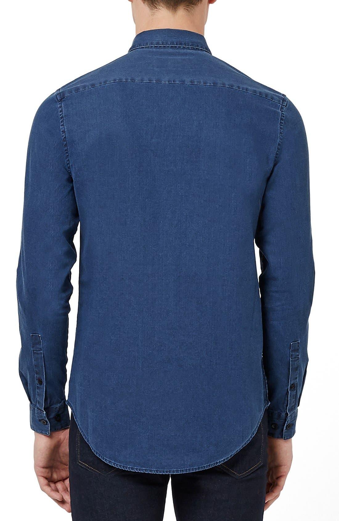 TOPMAN, Denim Shirt, Alternate thumbnail 4, color, 401
