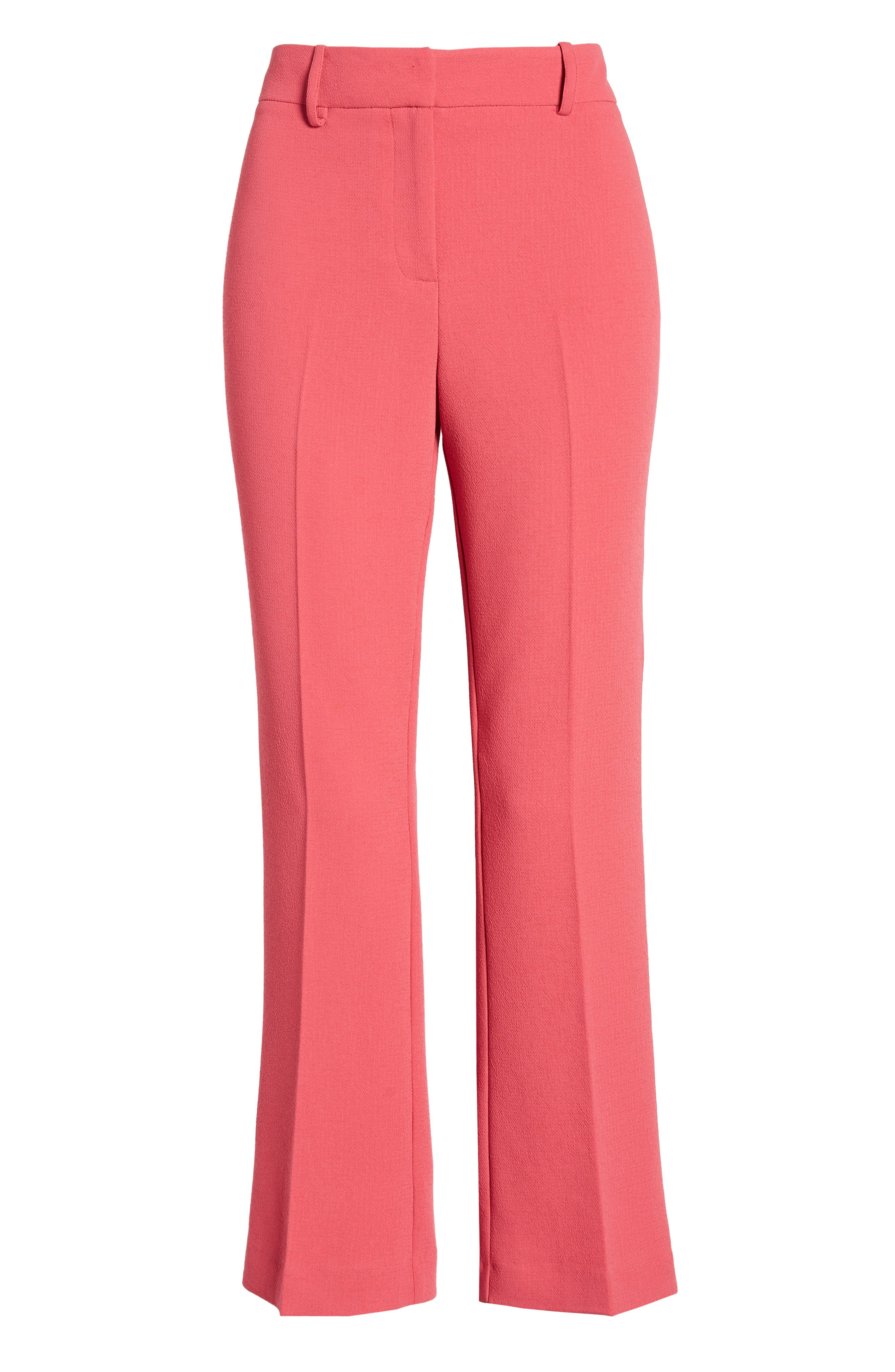 1.STATE, Crepe Kick Flare Ankle Pants, Alternate thumbnail 7, color, CORAL POPPY