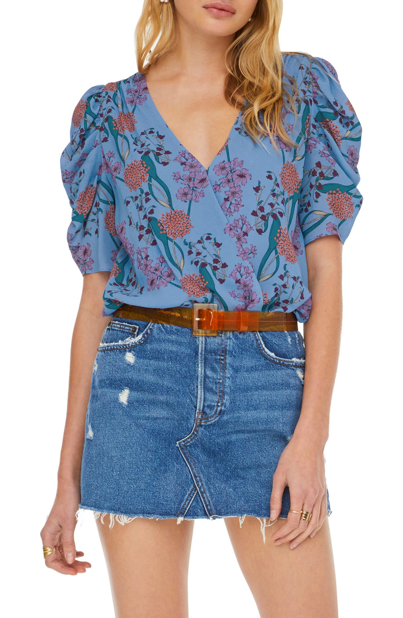 ASTR THE LABEL, Aspect Puff Sleeve Bodysuit, Main thumbnail 1, color, BLUEBELL FLORAL