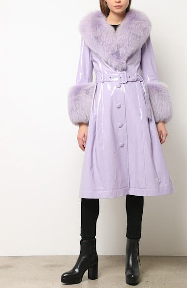 Patent Leather Coat with Genuine Fox Fur Trim, video thumbnail