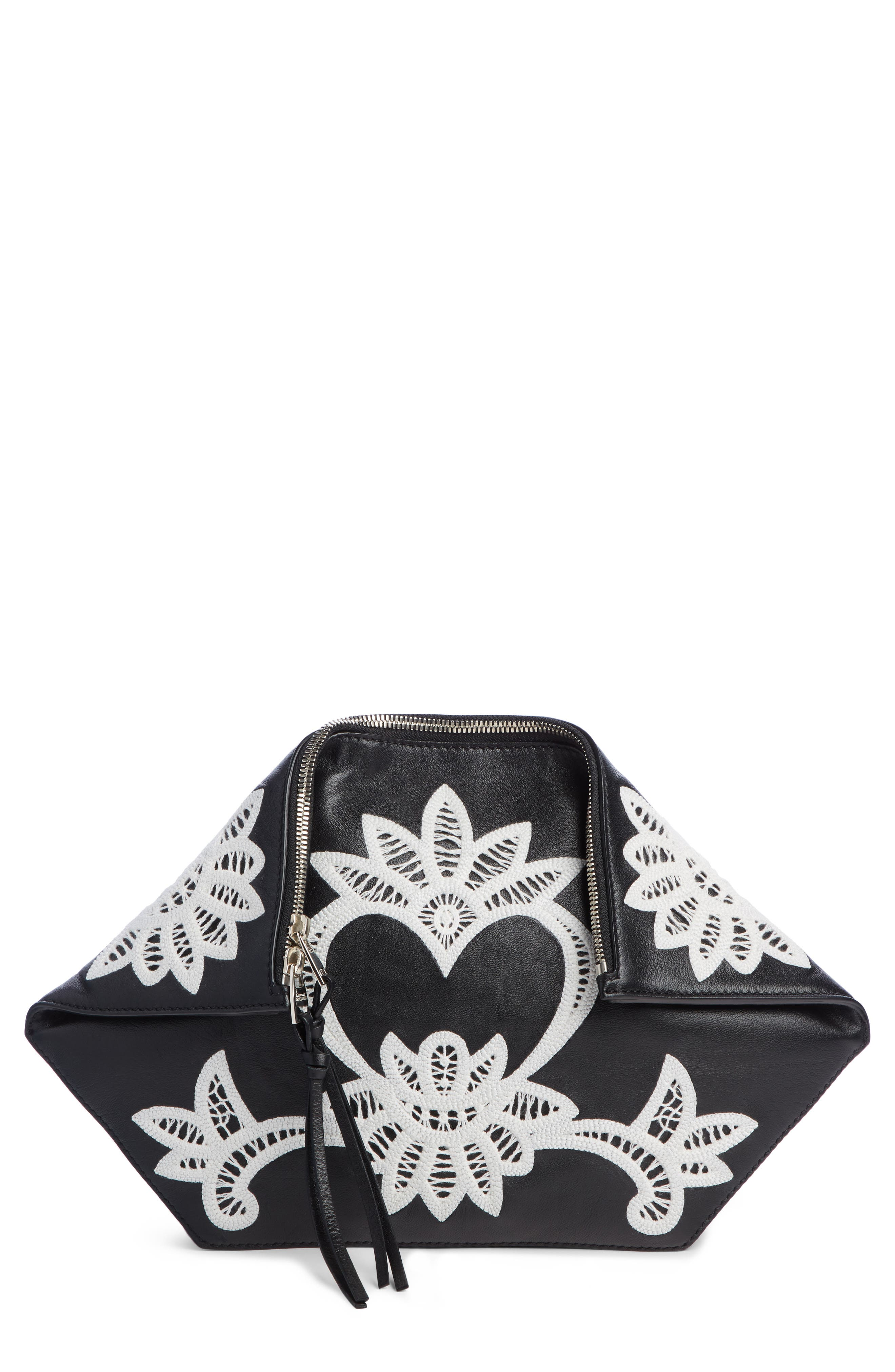 ALEXANDER MCQUEEN, Embroidered Leather Butterfly Pouch, Main thumbnail 1, color, BLACK/ IVORY