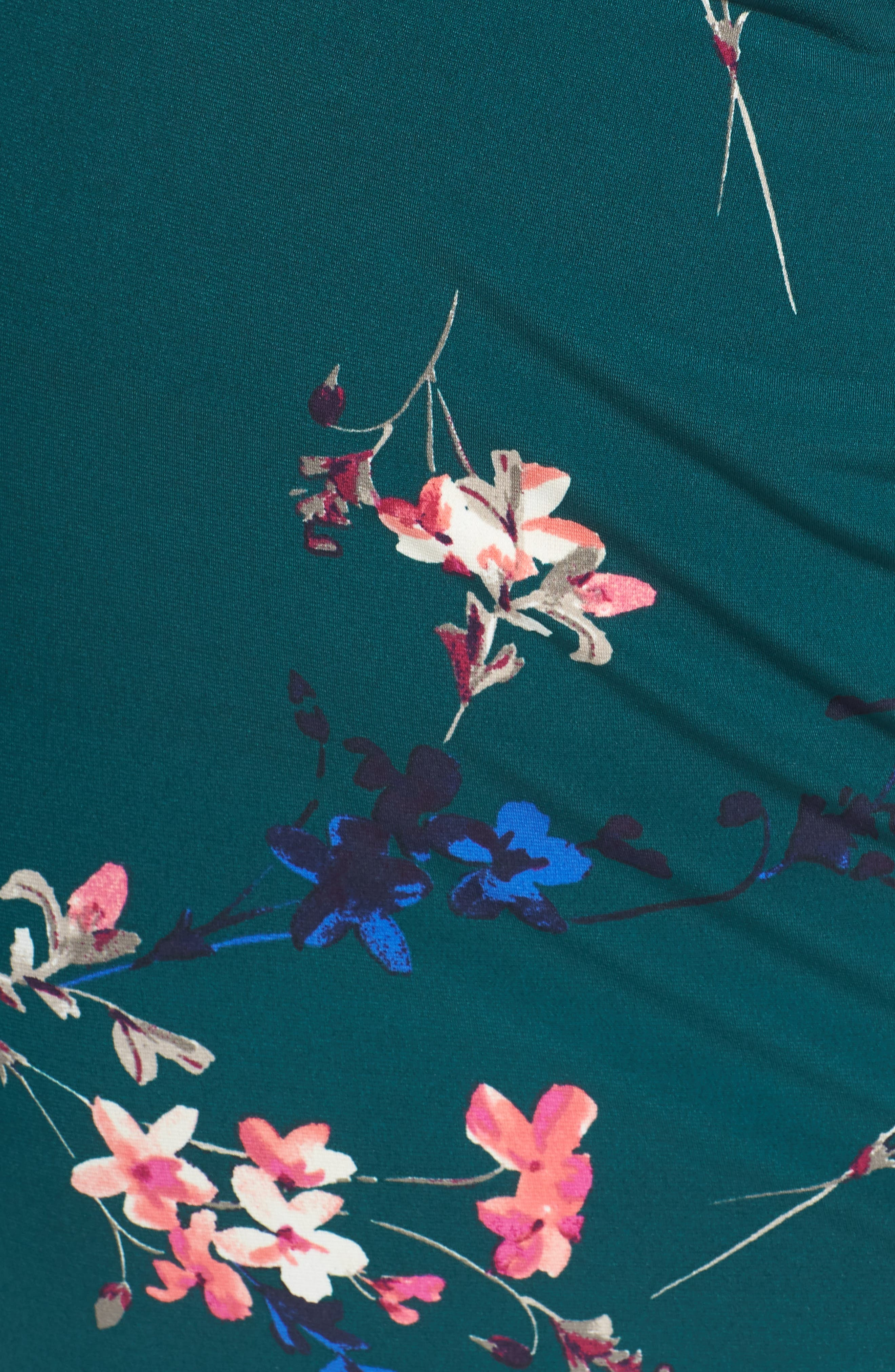 ELIZA J, Cap Sleeve Floral Print Sheath Dress, Alternate thumbnail 6, color, GREEN