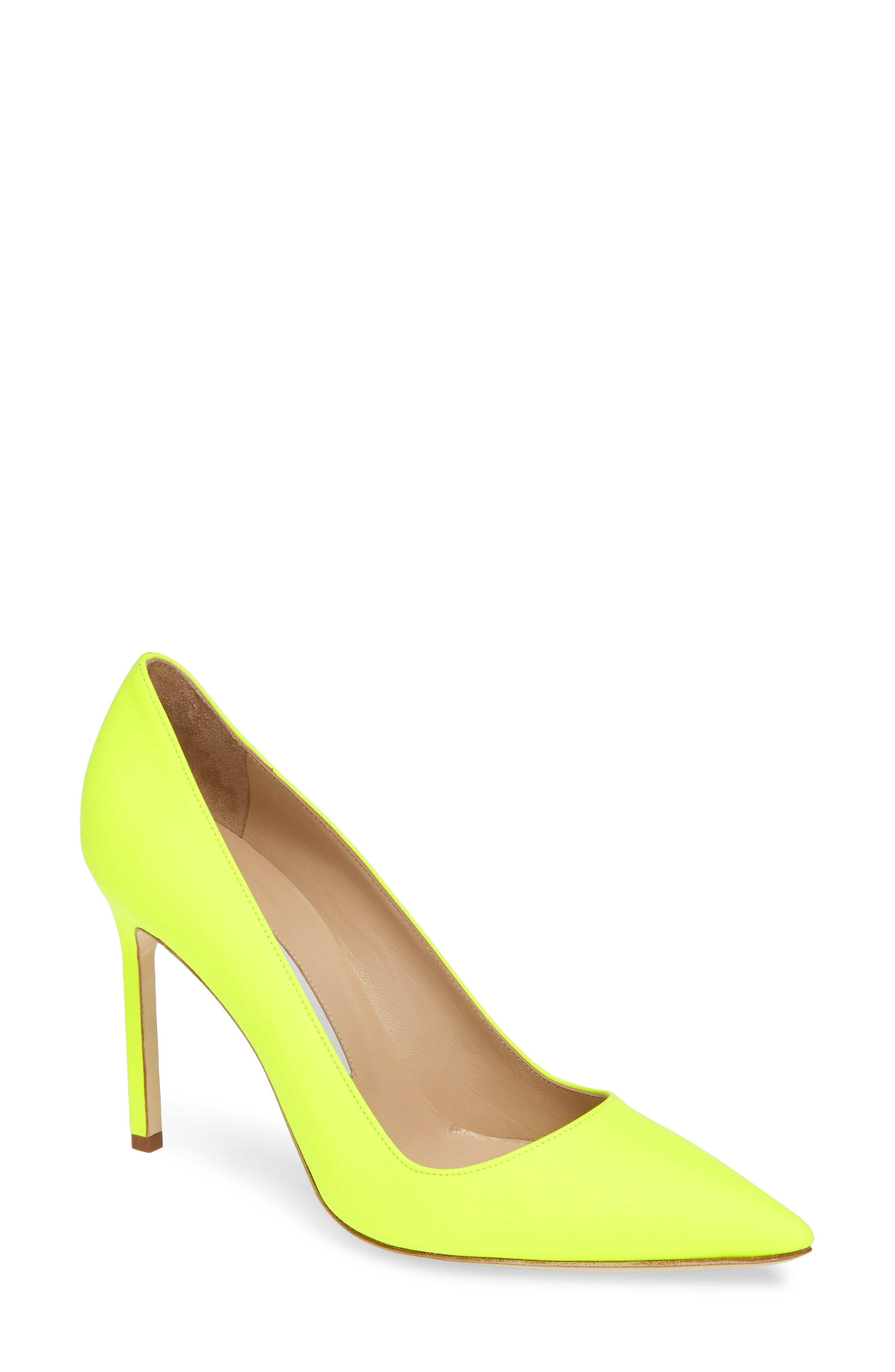 MANOLO BLAHNIK, 'BB' Pointy Toe Pump, Main thumbnail 1, color, YELLOW PATENT