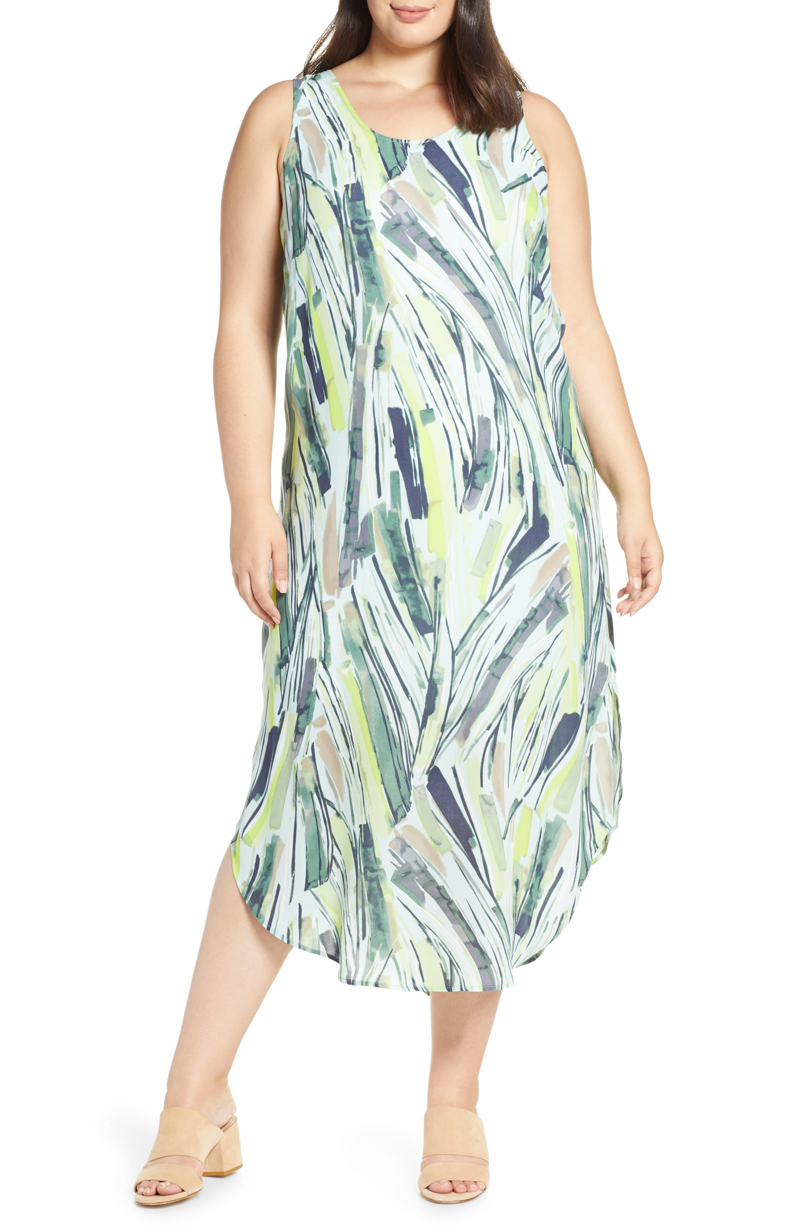Plus Size Nic+Zoe Palm Maxi Dress, Blue