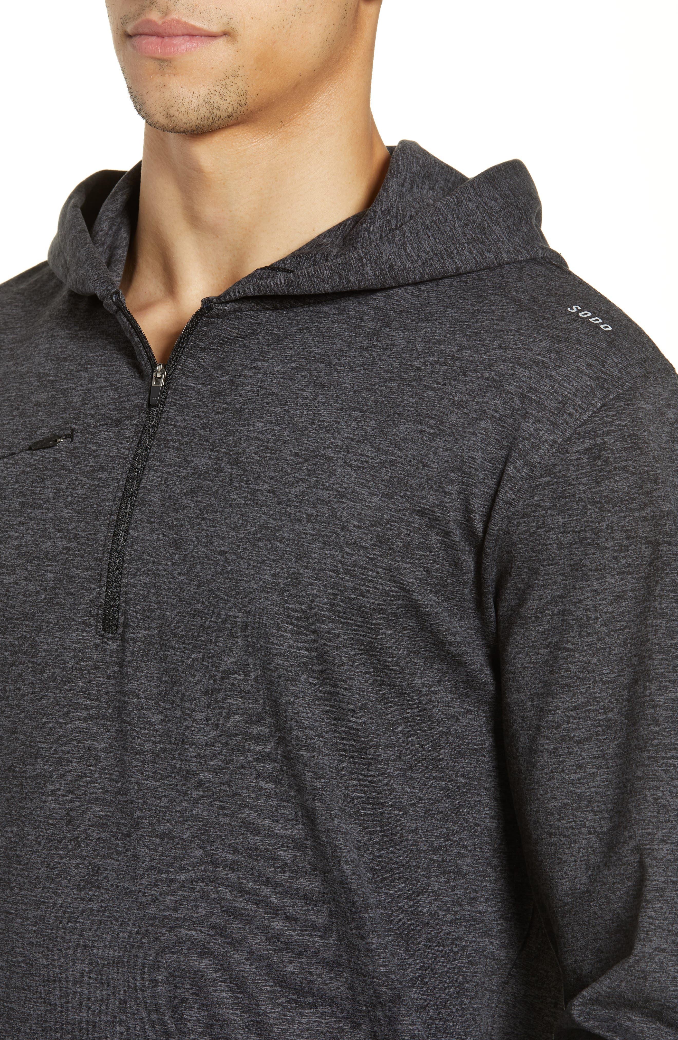 SODO, Elevate Hooded Sweatshirt, Alternate thumbnail 4, color, HEATHER CHARCOAL BLACK/ BLACK
