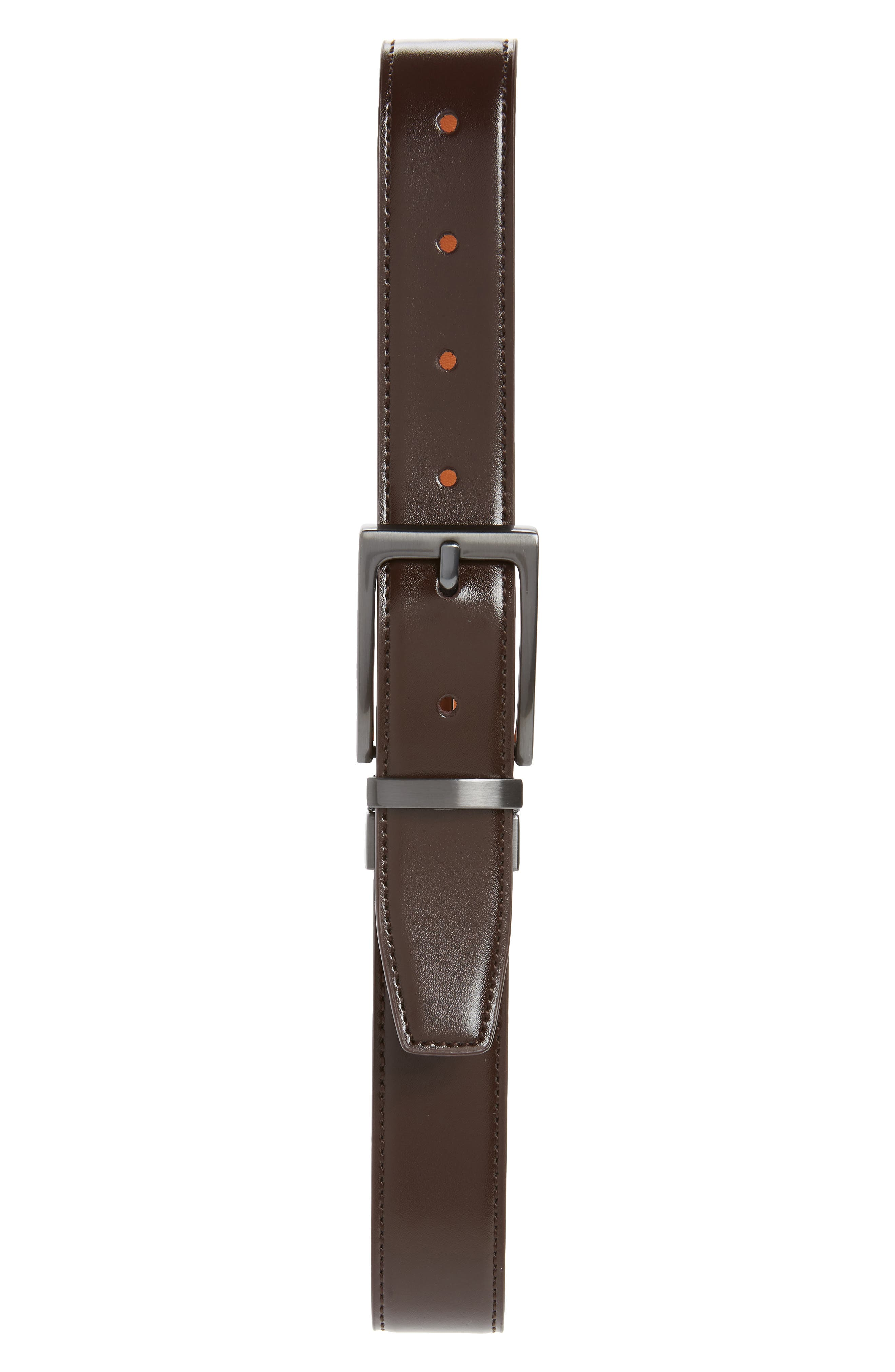 NORDSTROM, Reversible Faux Leather Belt, Main thumbnail 1, color, BROWN