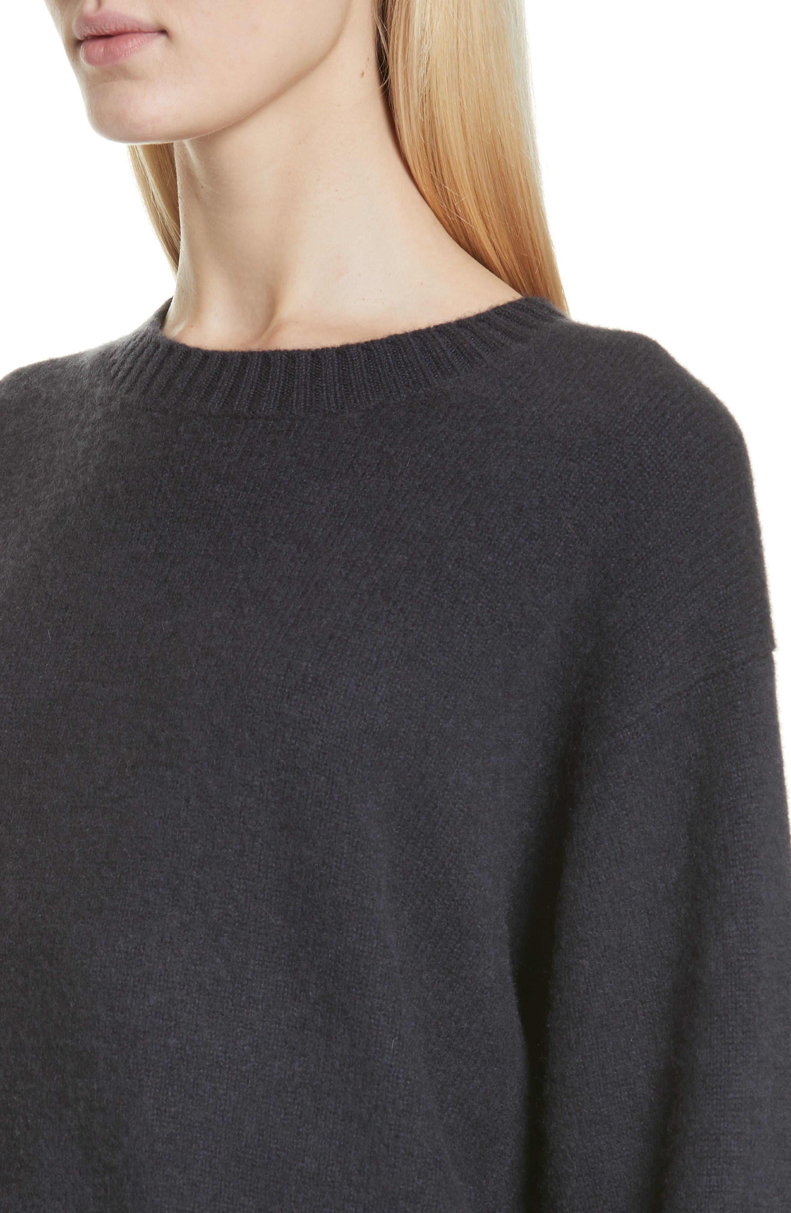 VINCE, Boxy Cashmere Sweater, Alternate thumbnail 4, color, OBSIDIAN