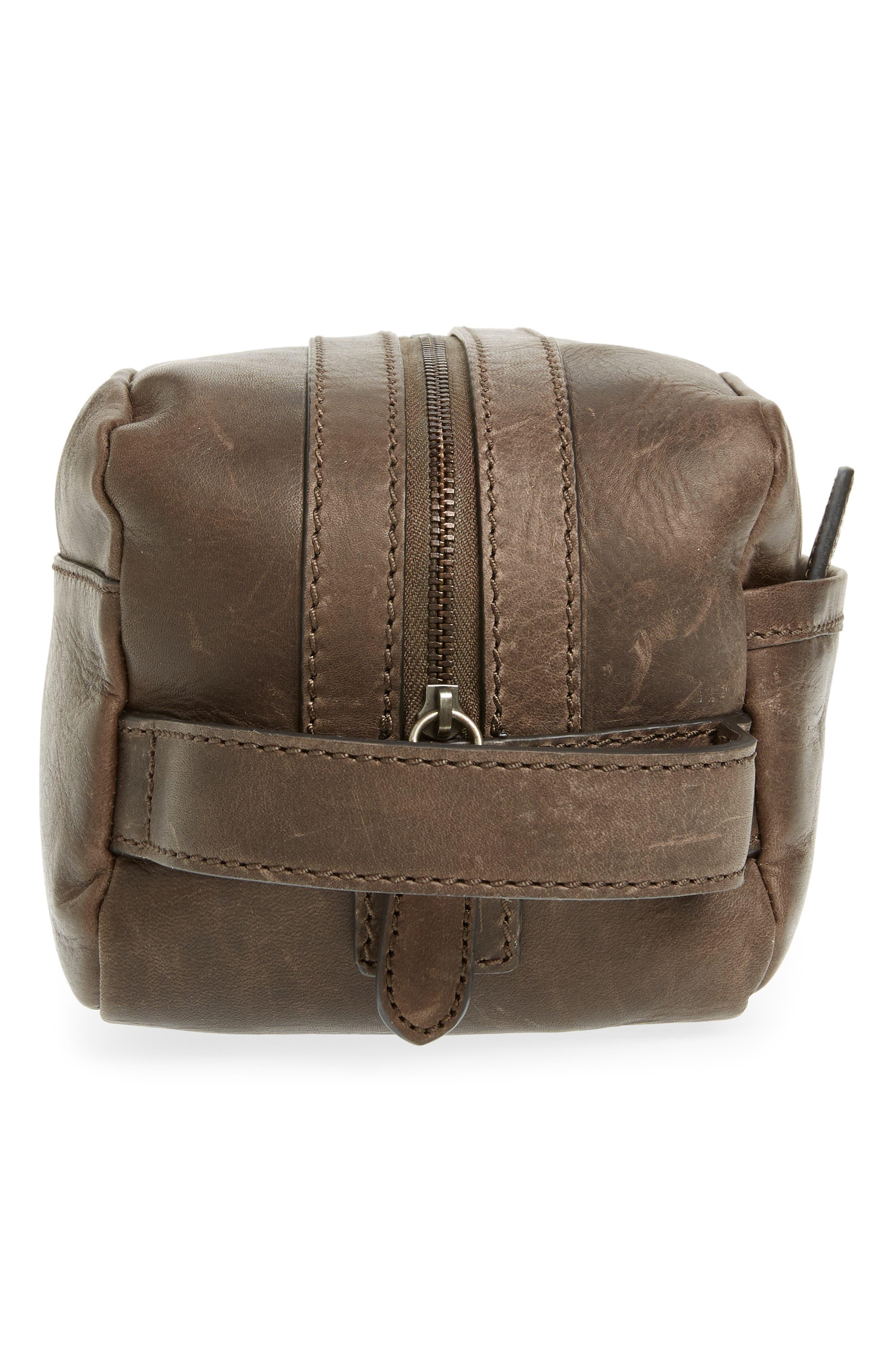 FRYE, 'Logan' Leather Travel Kit, Alternate thumbnail 4, color, SLATE