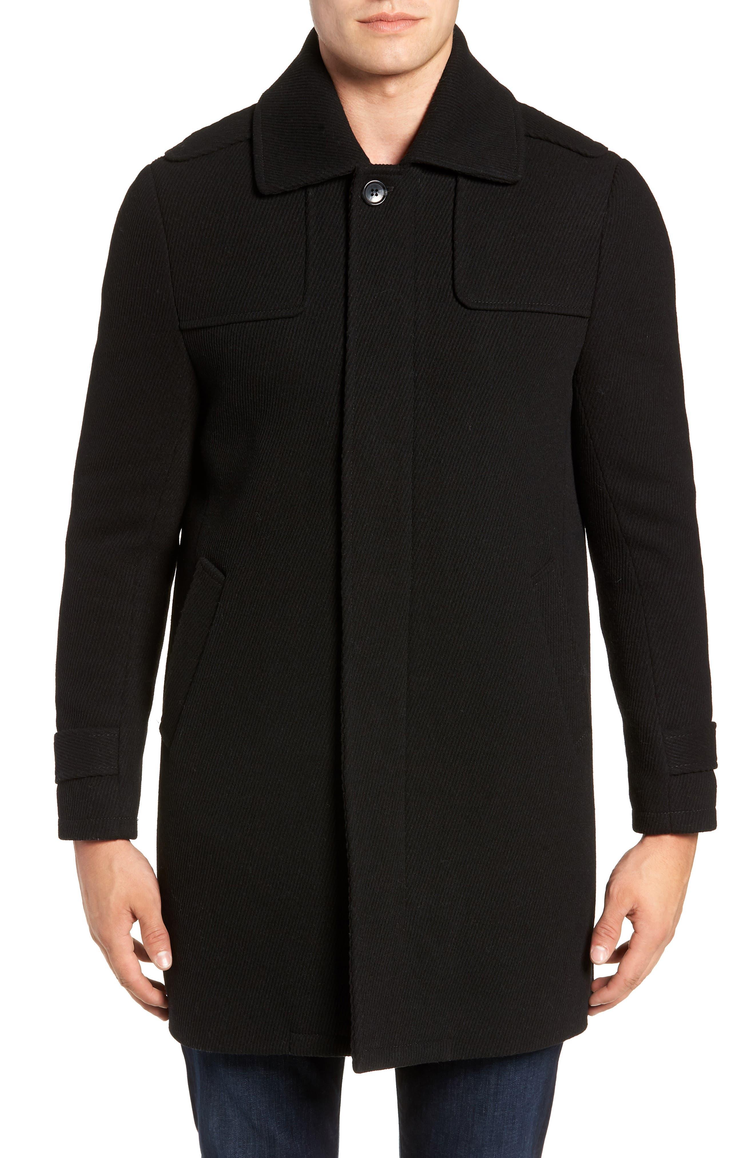MARC NEW YORK, Edmund Wool Blend Twill Car Coat, Alternate thumbnail 4, color, BLACK