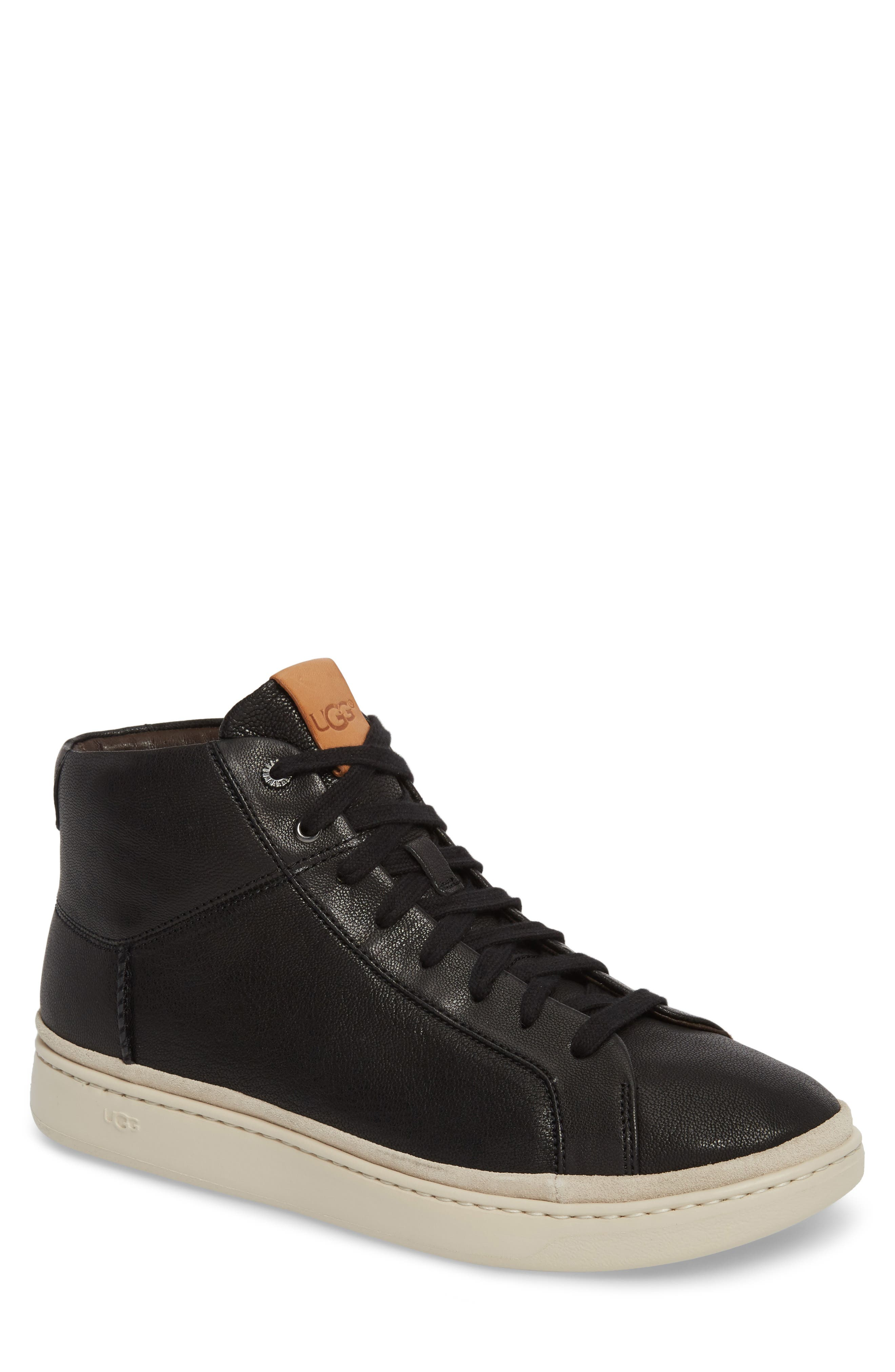UGG<SUP>®</SUP>, Cali High Top Sneaker, Main thumbnail 1, color, BLACK LEATHER