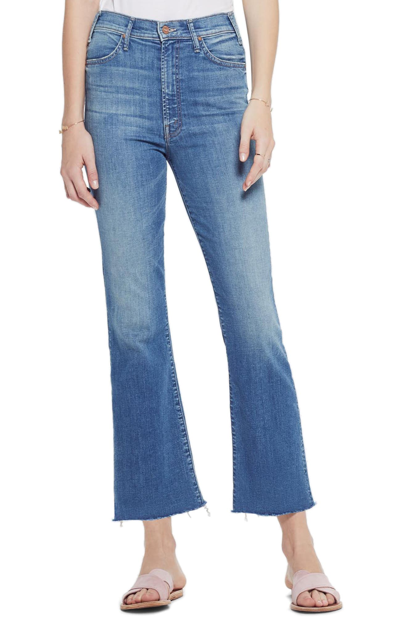 MOTHER, The Hustler High Waist Ankle Flare Jeans, Main thumbnail 1, color, WISHFUL DRINKING