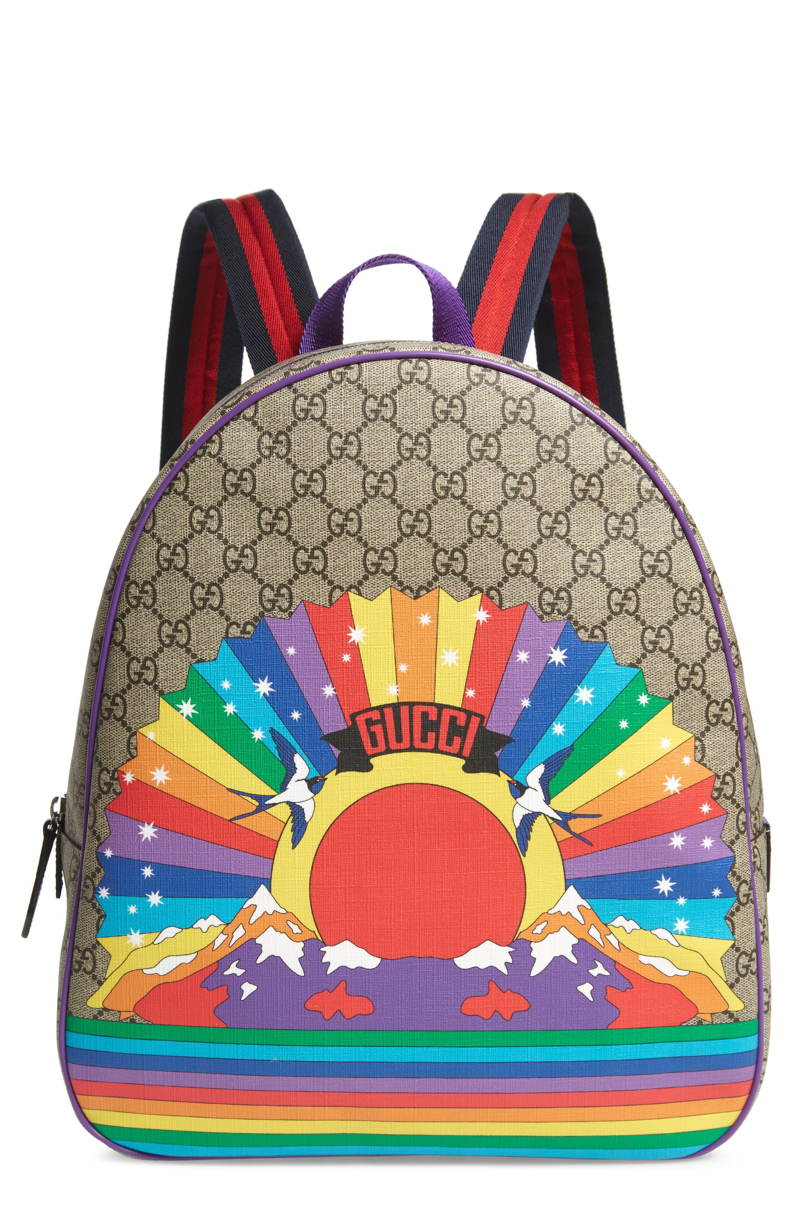 GUCCI, Junior Logo Backpack, Main thumbnail 1, color, BEIGE MULTI