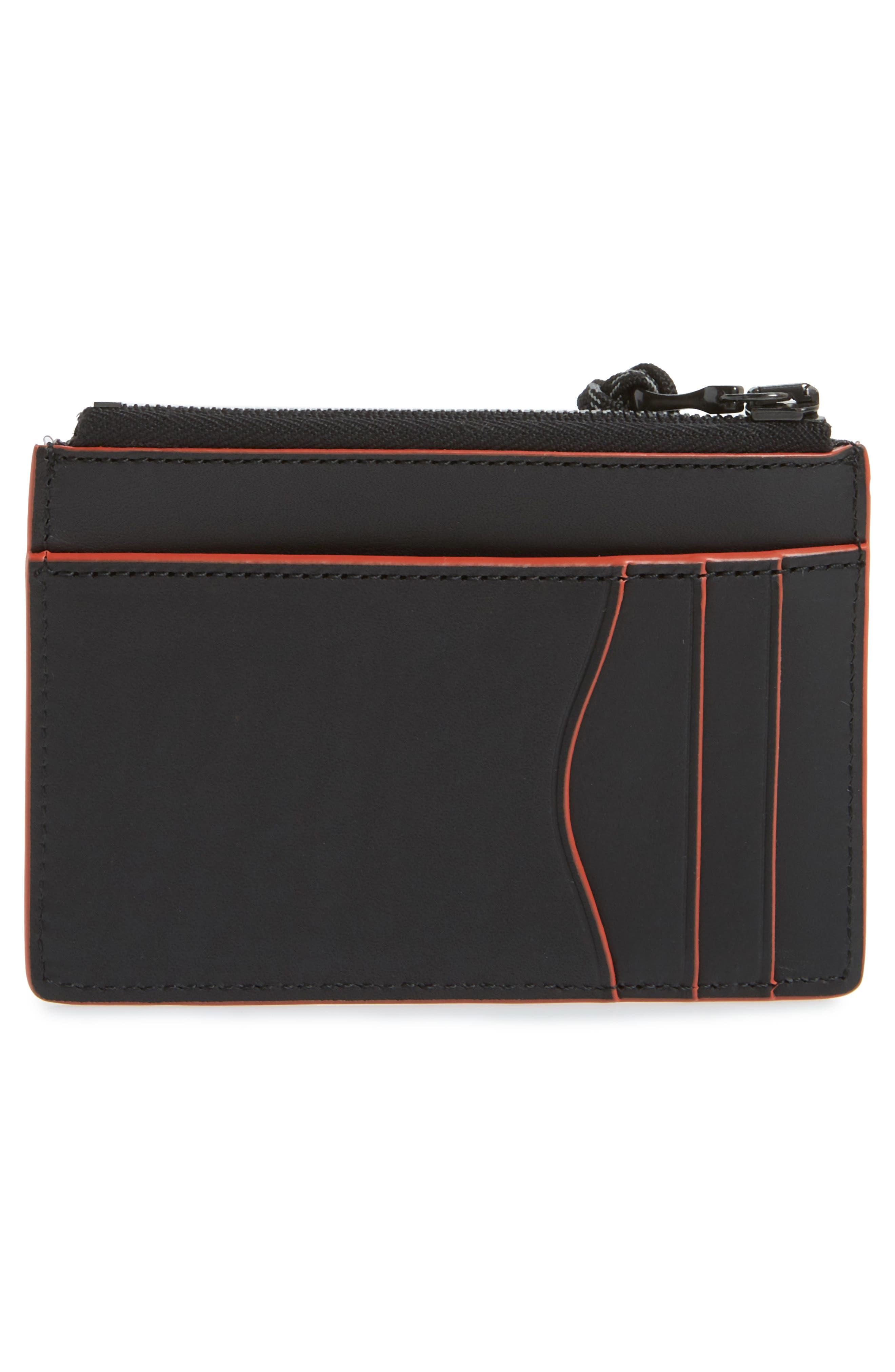 RAG & BONE, Leather Zip Card Case, Alternate thumbnail 2, color, BLACK COMBO