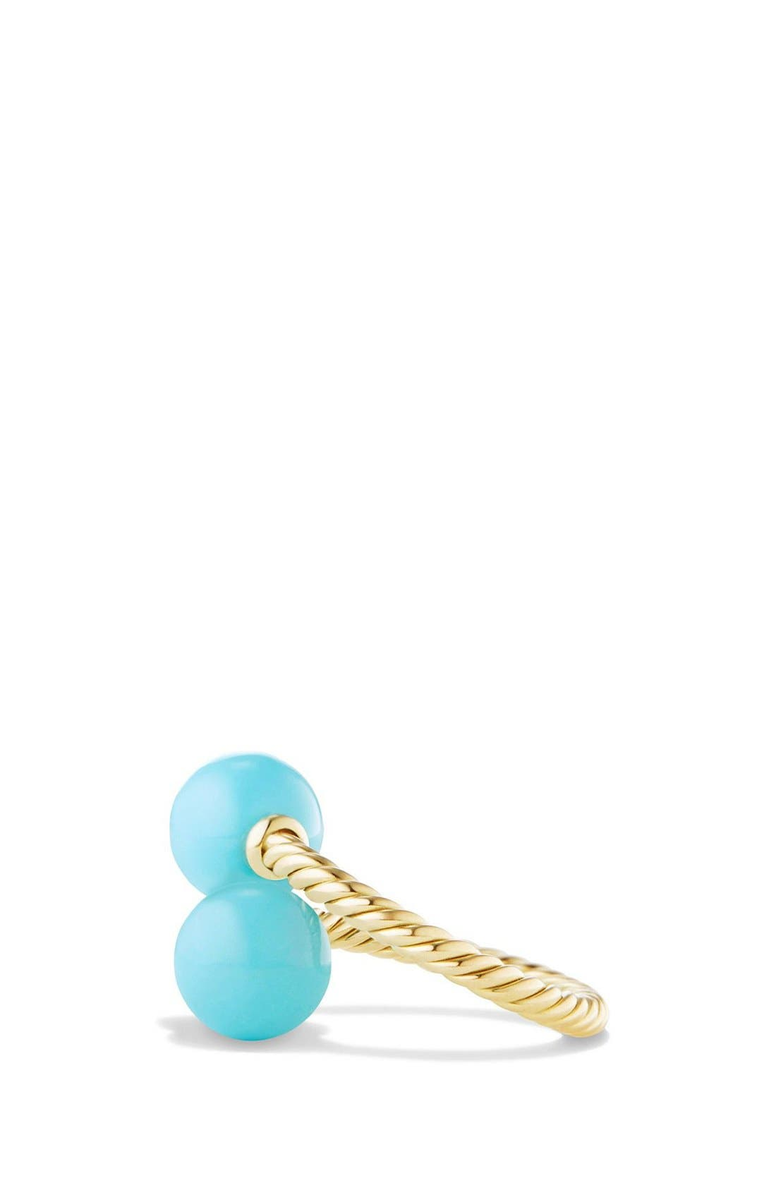 DAVID YURMAN, 'Solari' Bead Ring with Turquoise in 18K Gold, Alternate thumbnail 2, color, TURQUOISE
