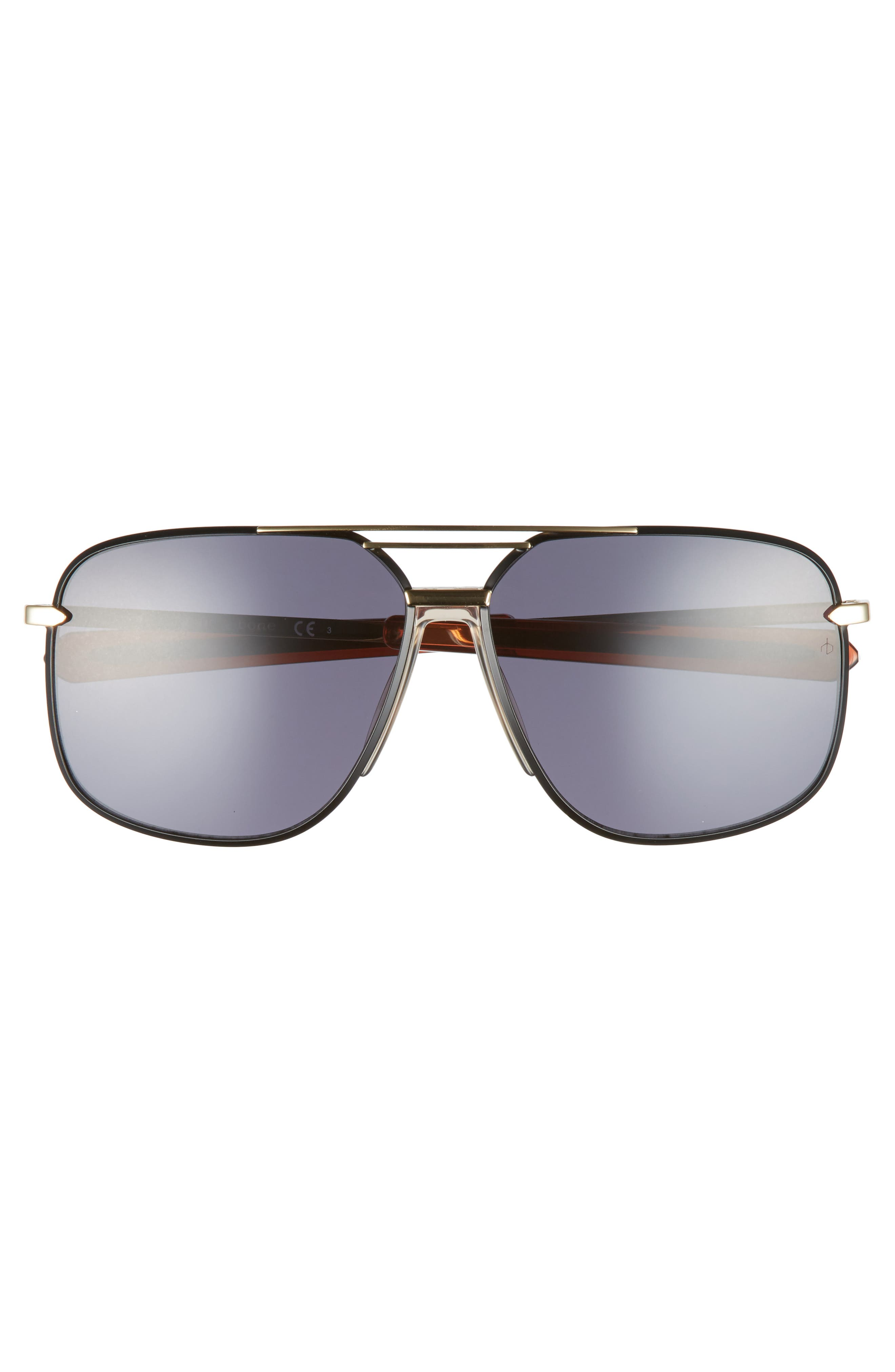 RAG & BONE, Caravan 62mm Oversize Aviator Sunglasses, Alternate thumbnail 3, color, BLACK/ GOLD