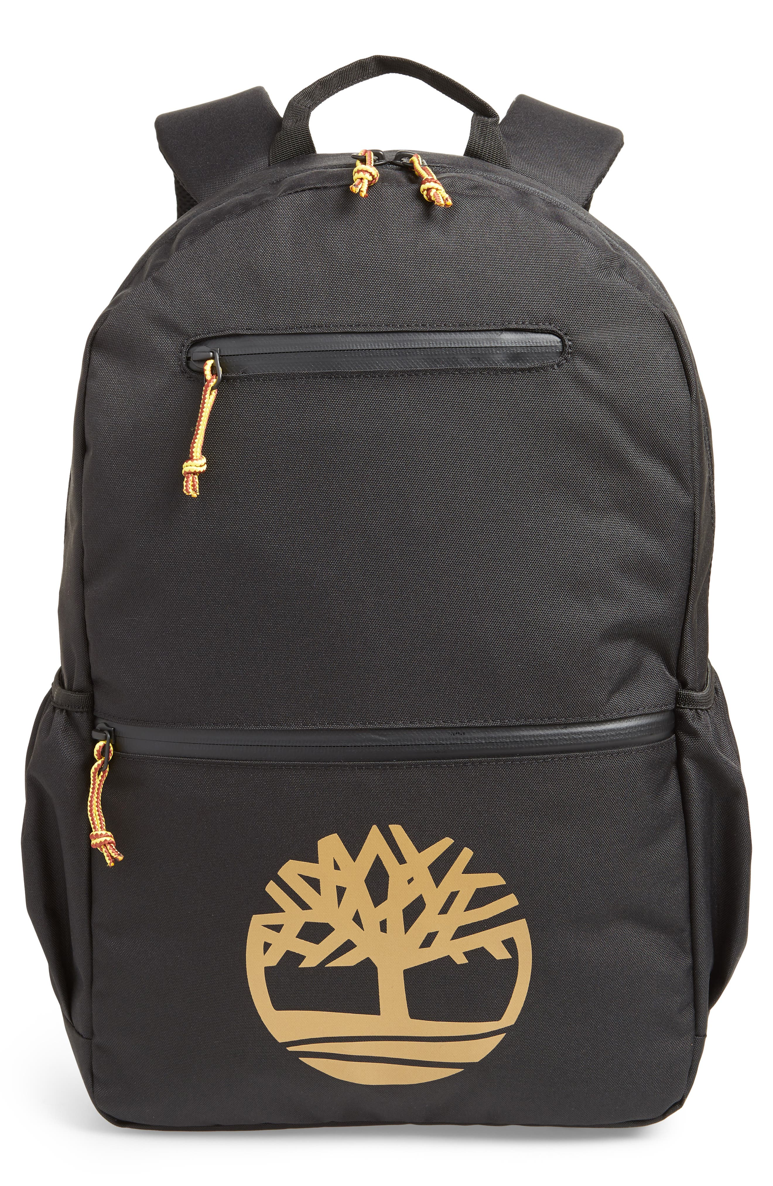 TIMBERLAND, Logo Graphic Water Resistant Backpack, Main thumbnail 1, color, BLACK