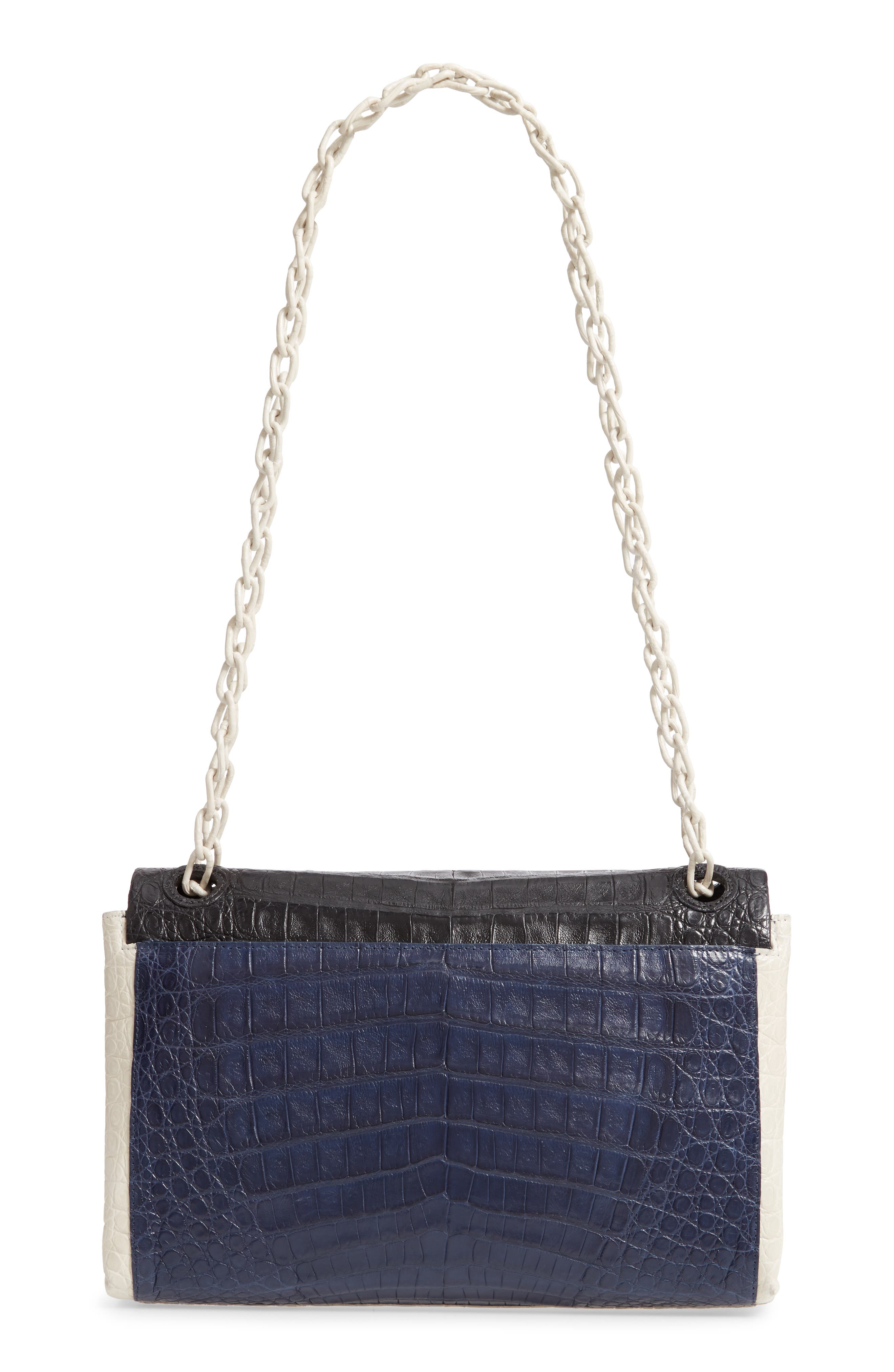 NANCY GONZALEZ, Medium Madison Genuine Crocodile Shoulder Bag, Alternate thumbnail 4, color, BLACK / NAVY/ LIGHT GREY