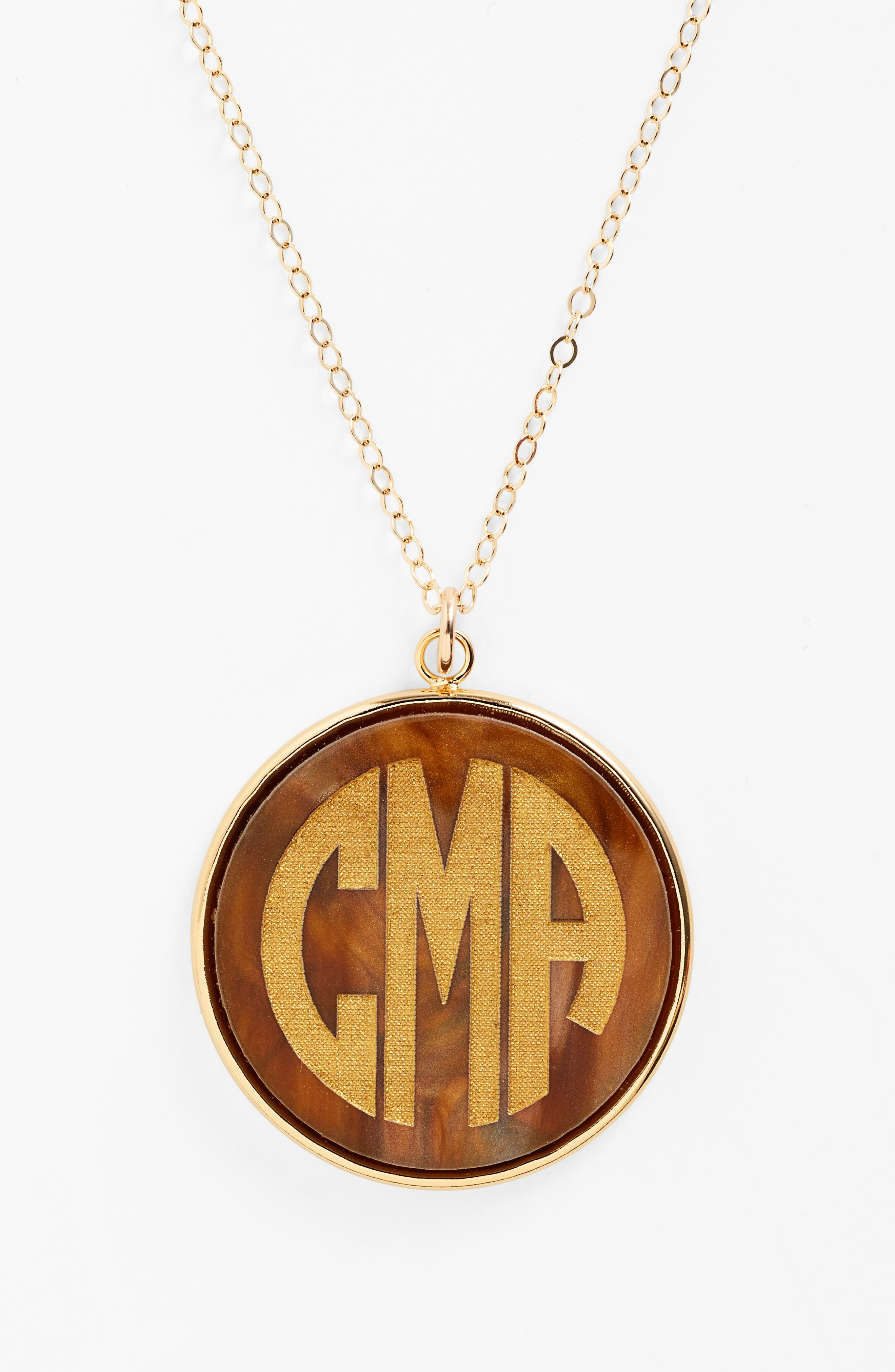 MOON AND LOLA, 'Vineyard' Personalized Monogram Pendant Necklace, Alternate thumbnail 3, color, TIGERS EYE
