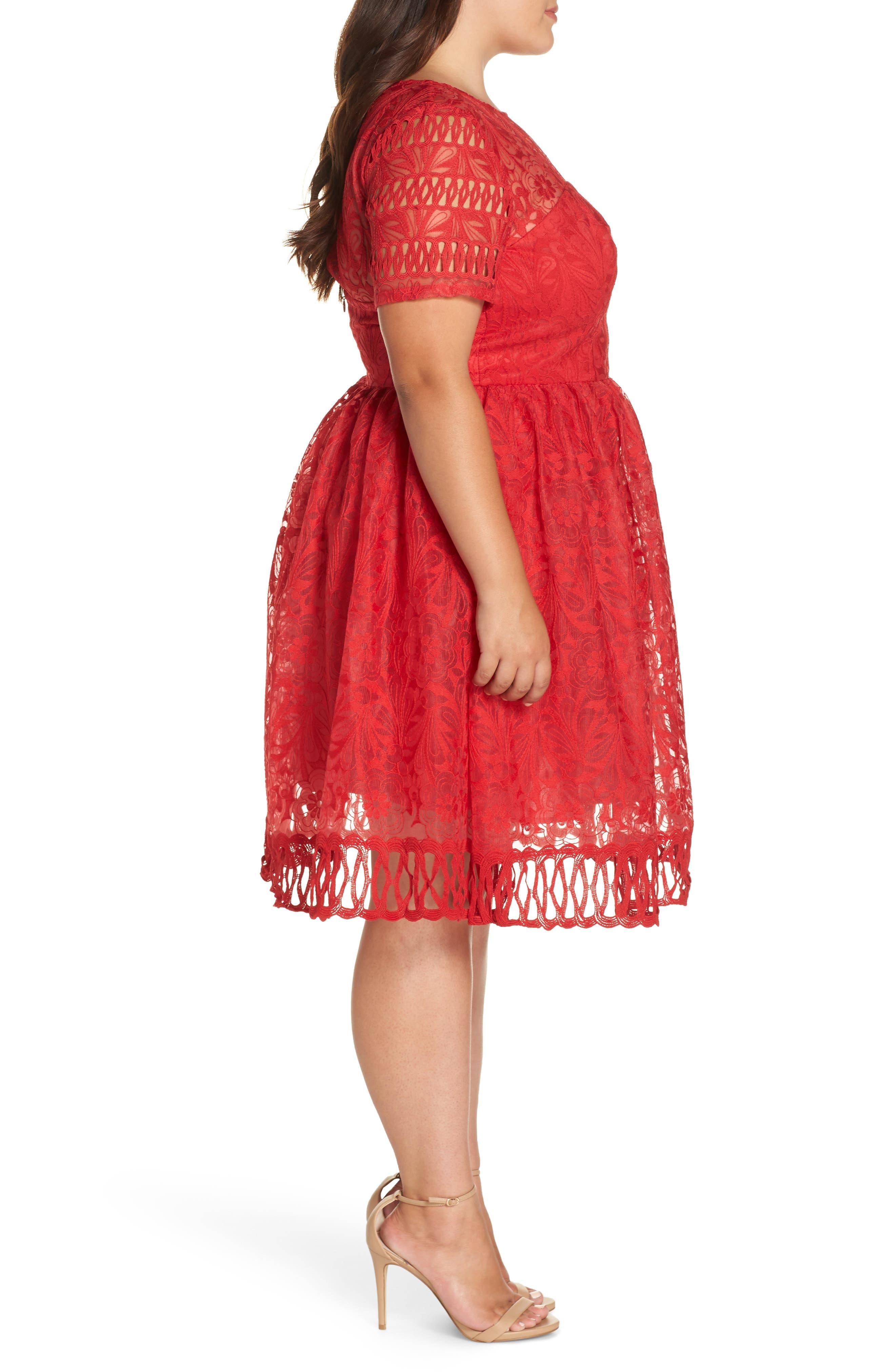 CHI CHI LONDON, Crochet Dress, Alternate thumbnail 4, color, RED