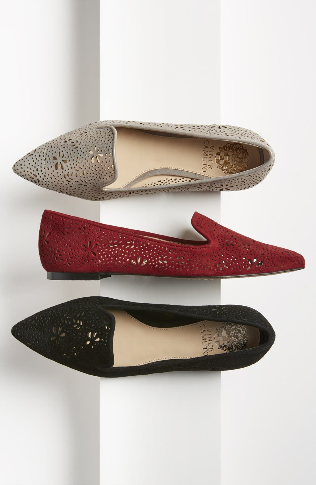 VINCE CAMUTO, 'Earina' Perforated Flat, Alternate thumbnail 5, color, 001