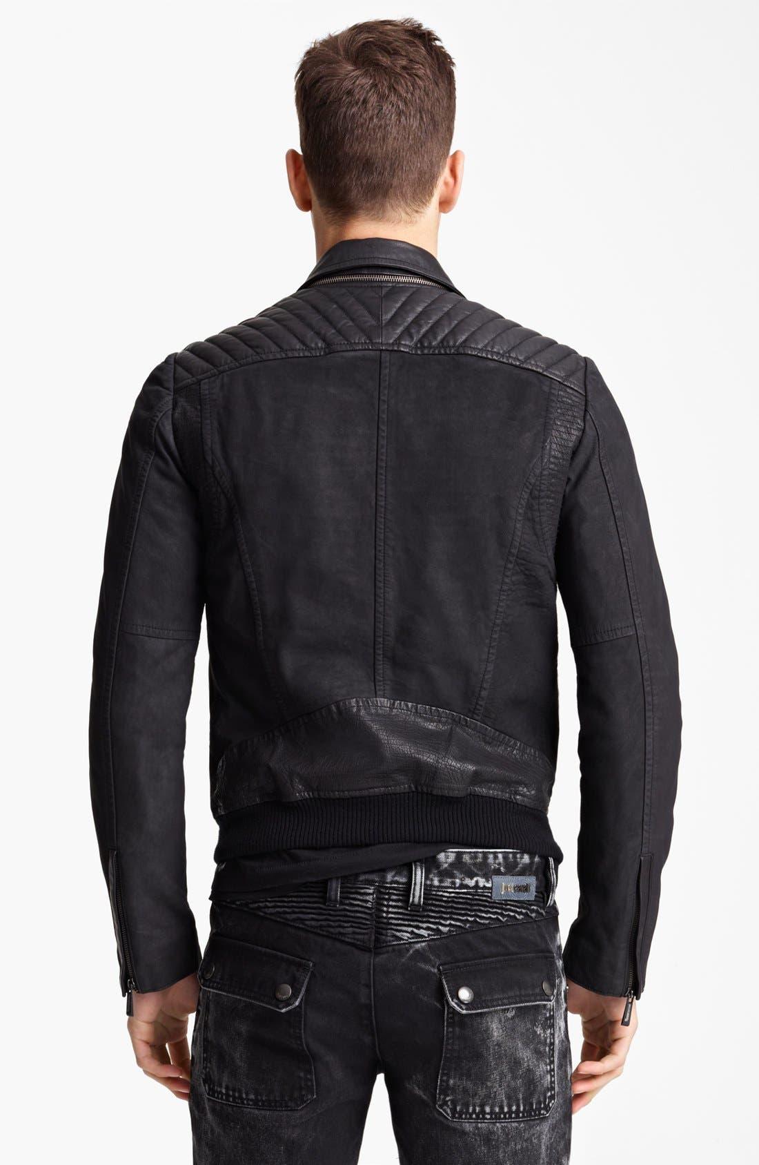 JUST CAVALLI, Leather Moto Jacket, Alternate thumbnail 2, color, 001