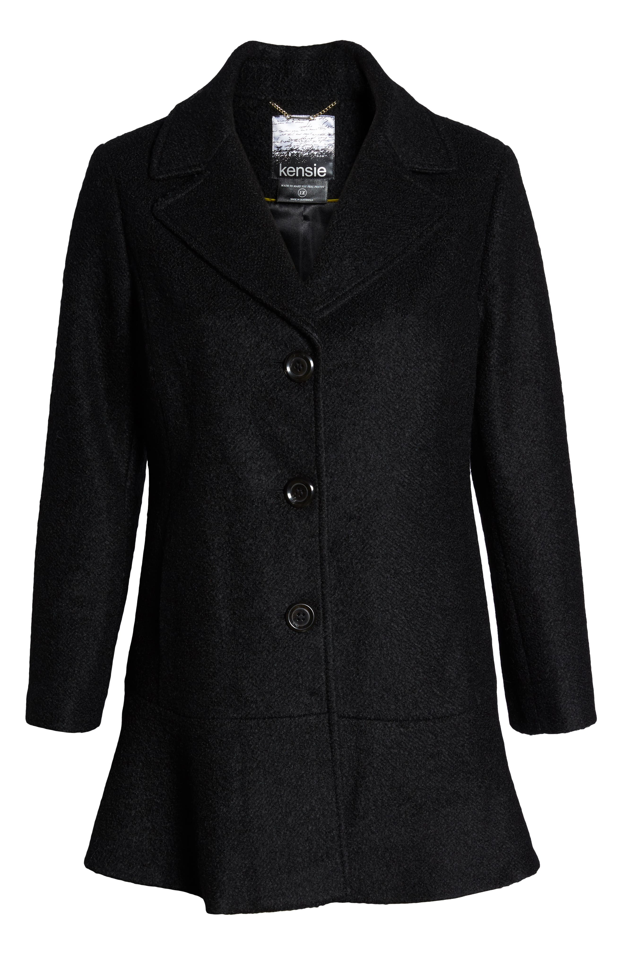 KENSIE, Notch Lapel Peplum Coat, Alternate thumbnail 6, color, BLACK