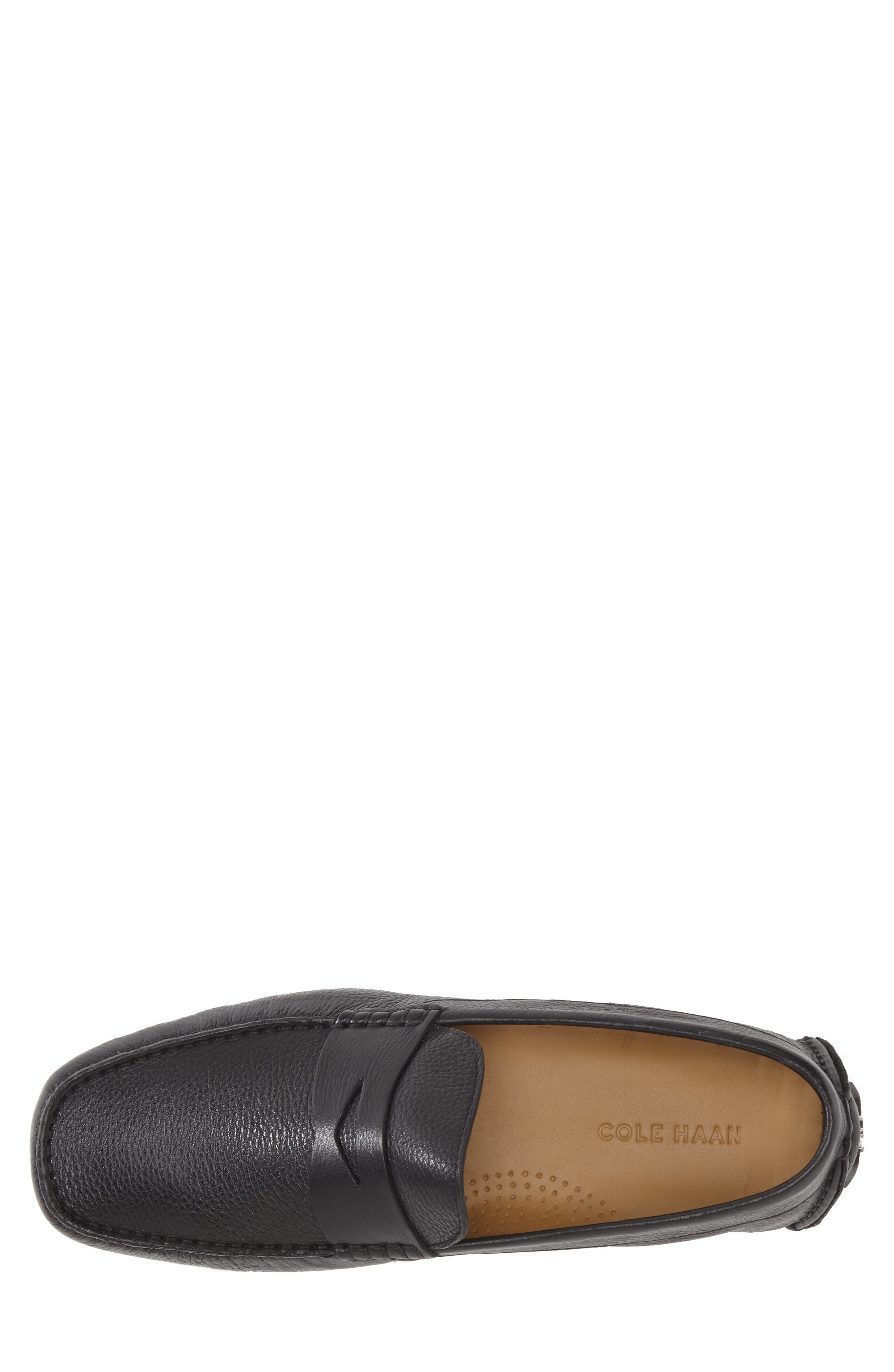 COLE HAAN, 'Howland' Penny Loafer, Alternate thumbnail 7, color, BLACK TUMBLED