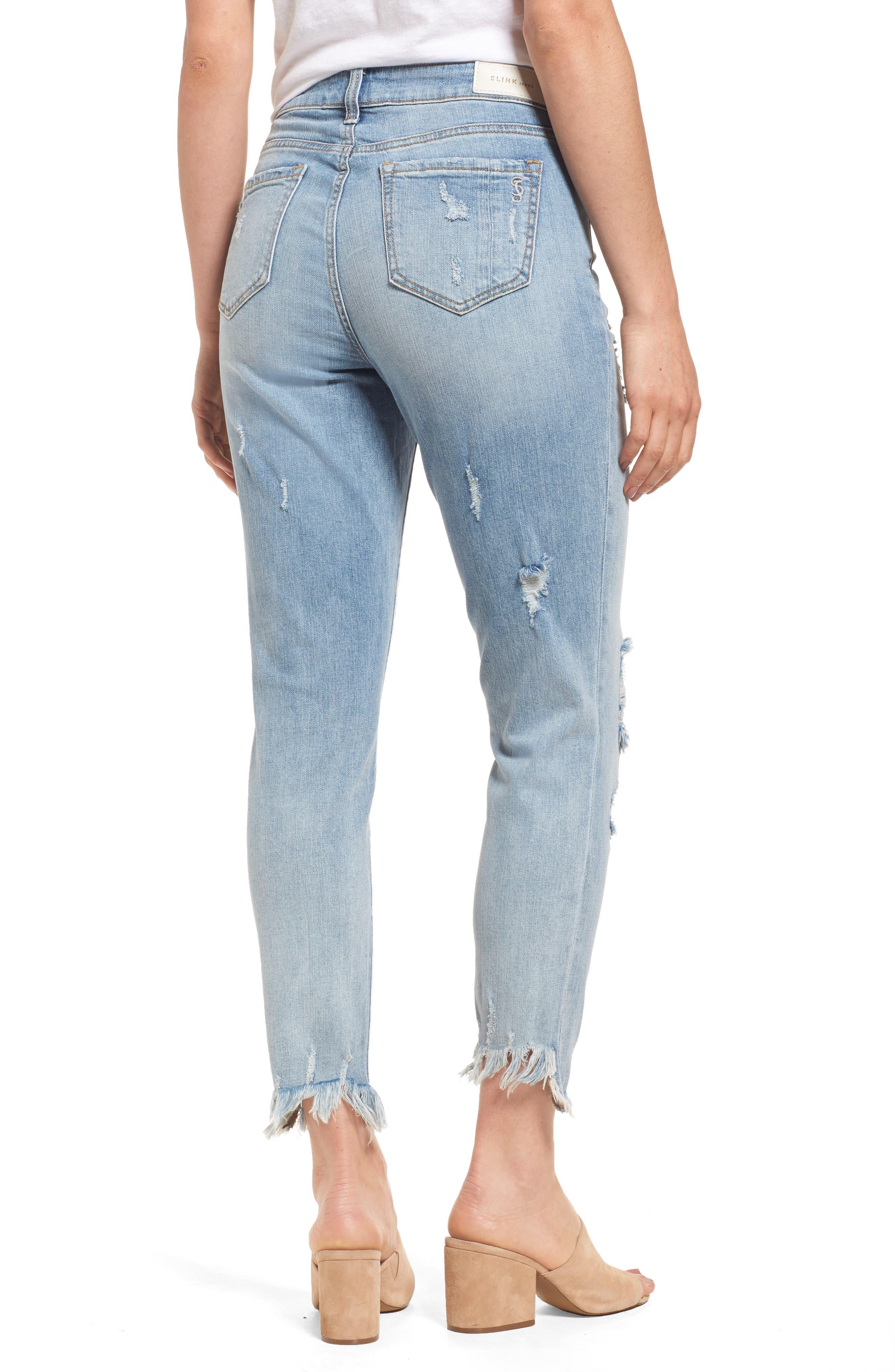 SLINK JEANS, Frayed Hem Easy Fit Ankle Jeans, Alternate thumbnail 2, color, MAGGIE
