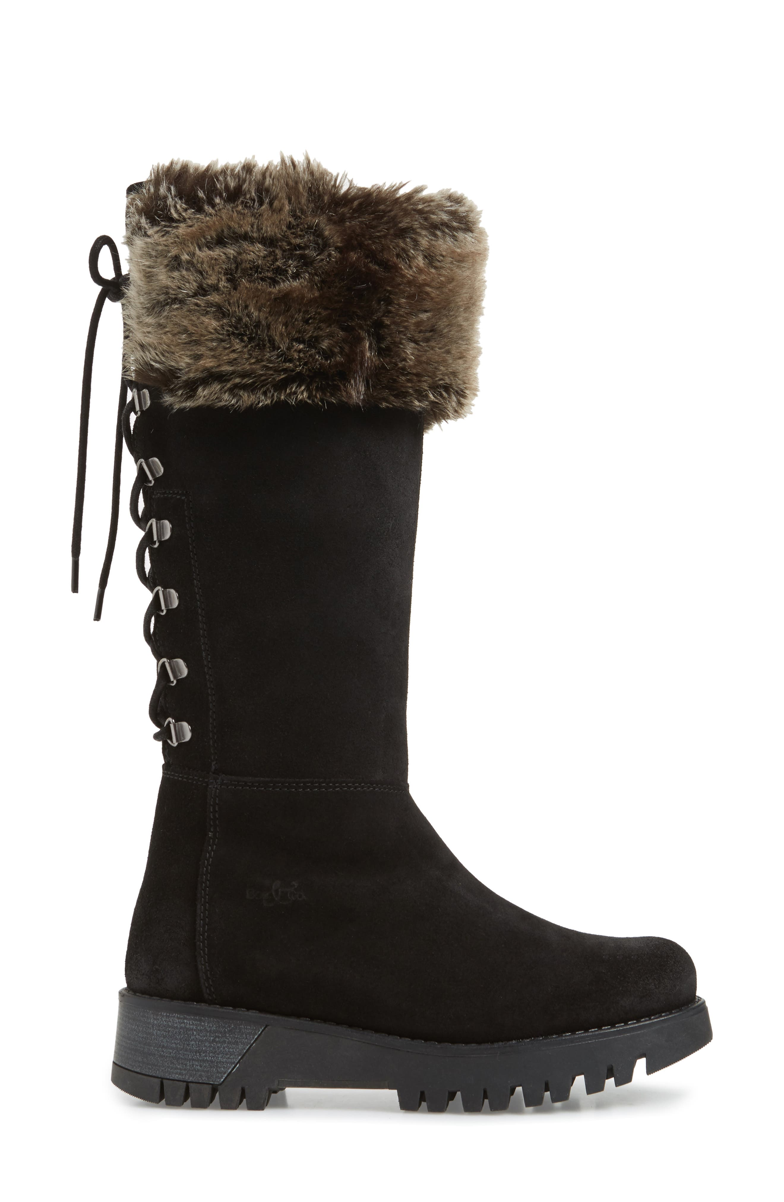 BOS. & CO., Graham Waterproof Winter Boot with Faux Fur Cuff, Alternate thumbnail 3, color, BLACK SUEDE
