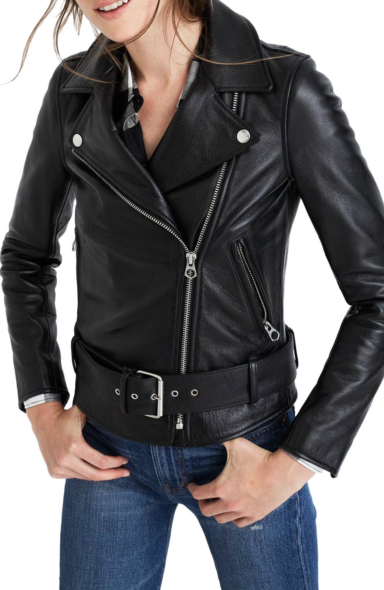 MADEWELL, Ultimate Leather Jacket, Main thumbnail 1, color, TRUE BLACK