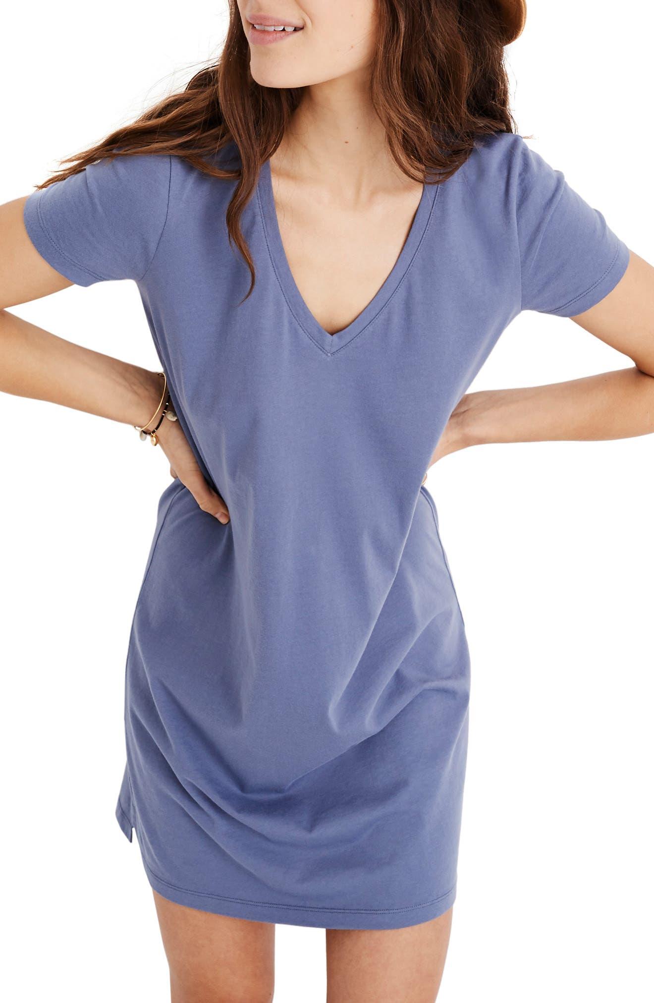 MADEWELL Northside V-Neck T-Shirt Dress, Main, color, PALE SHADOW