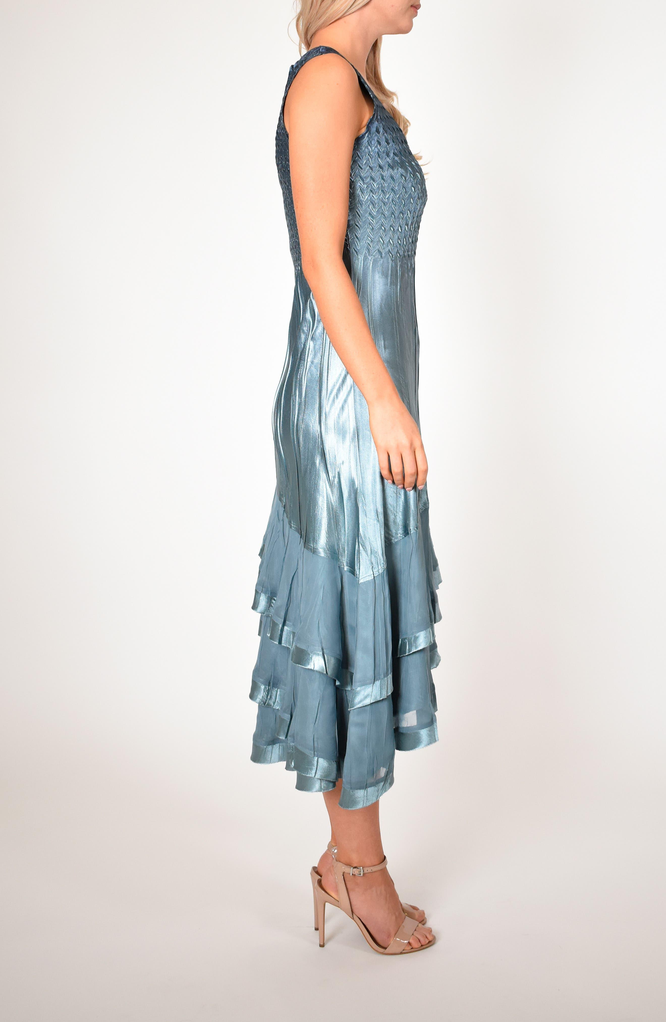 KOMAROV, Asymmetrical Jacket Dress, Alternate thumbnail 9, color, SILVER BLUE NIGHT OMBRE
