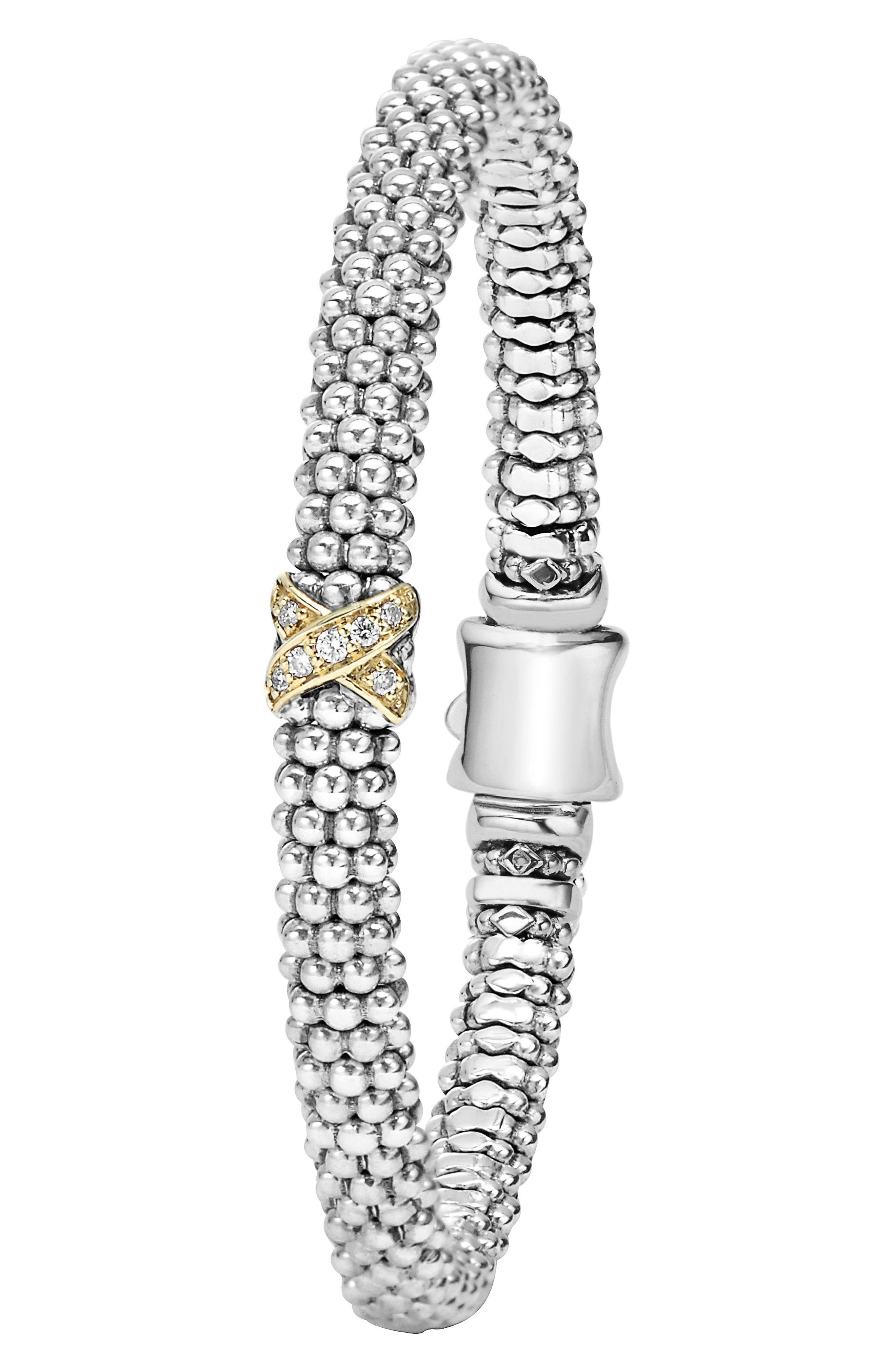 LAGOS, Caviar 'Signature Caviar' Diamond Rope Bracelet, Alternate thumbnail 2, color, STERLING SILVER/ GOLD