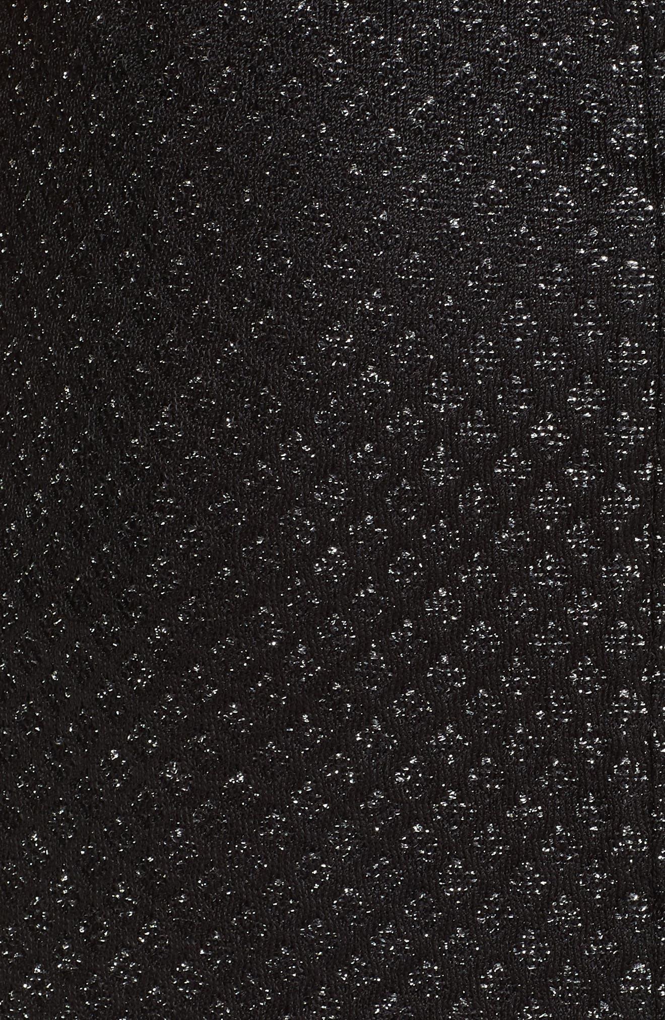 ST. JOHN COLLECTION, Shimmer Inlay Brocade Knit Dress, Alternate thumbnail 5, color, CAVIAR/ SILVER