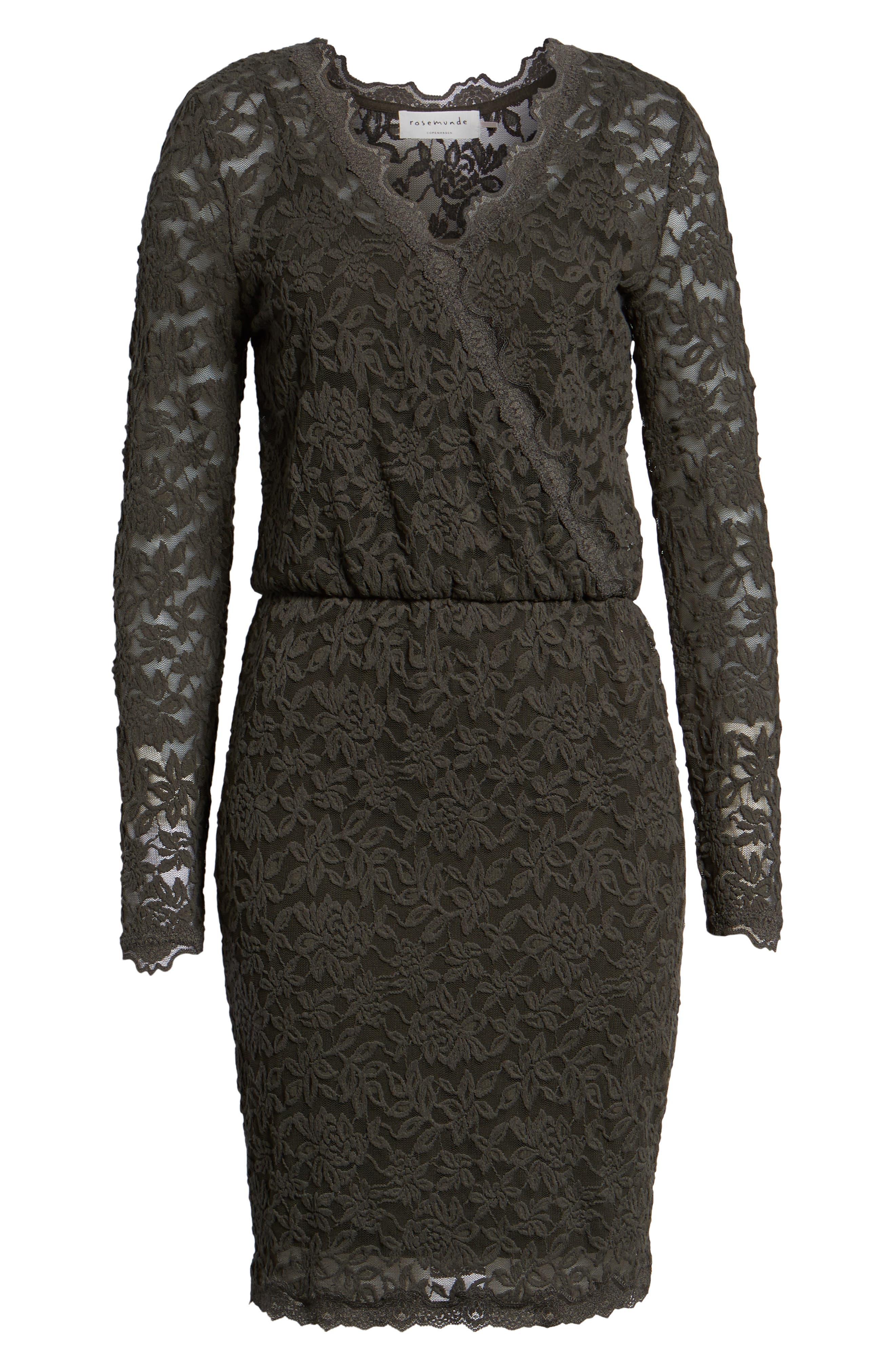 ROSEMUNDE, Delicia Scallop Detail Cotton Blend Lace Dress, Alternate thumbnail 7, color, DARK FOREST