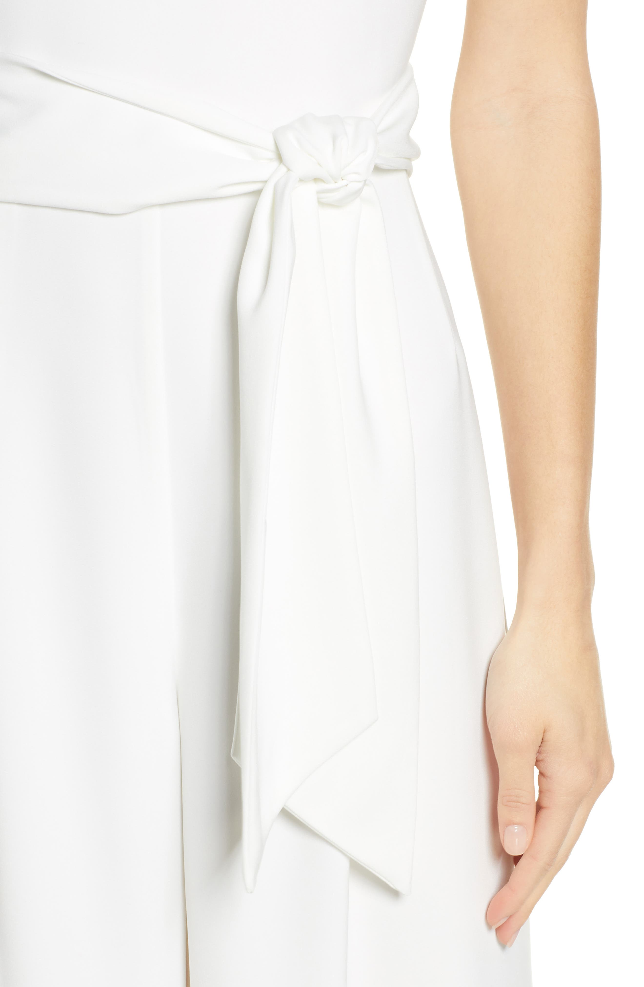 CHARLES HENRY, Sleeveless Culotte Jumpsuit, Alternate thumbnail 5, color, IVORY