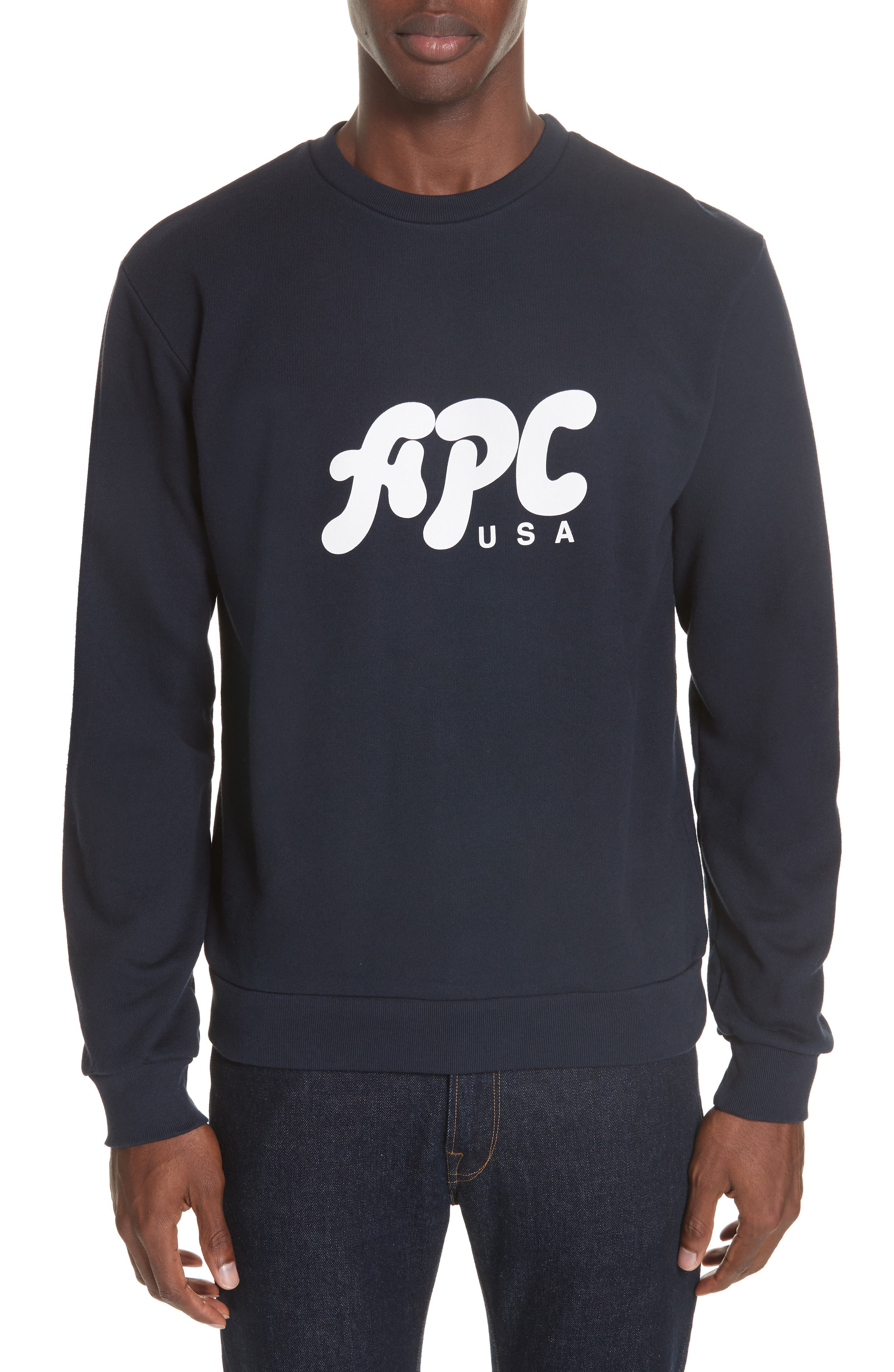 A.P.C., New Logo Crewneck Sweatshirt, Main thumbnail 1, color, IAK NAVY