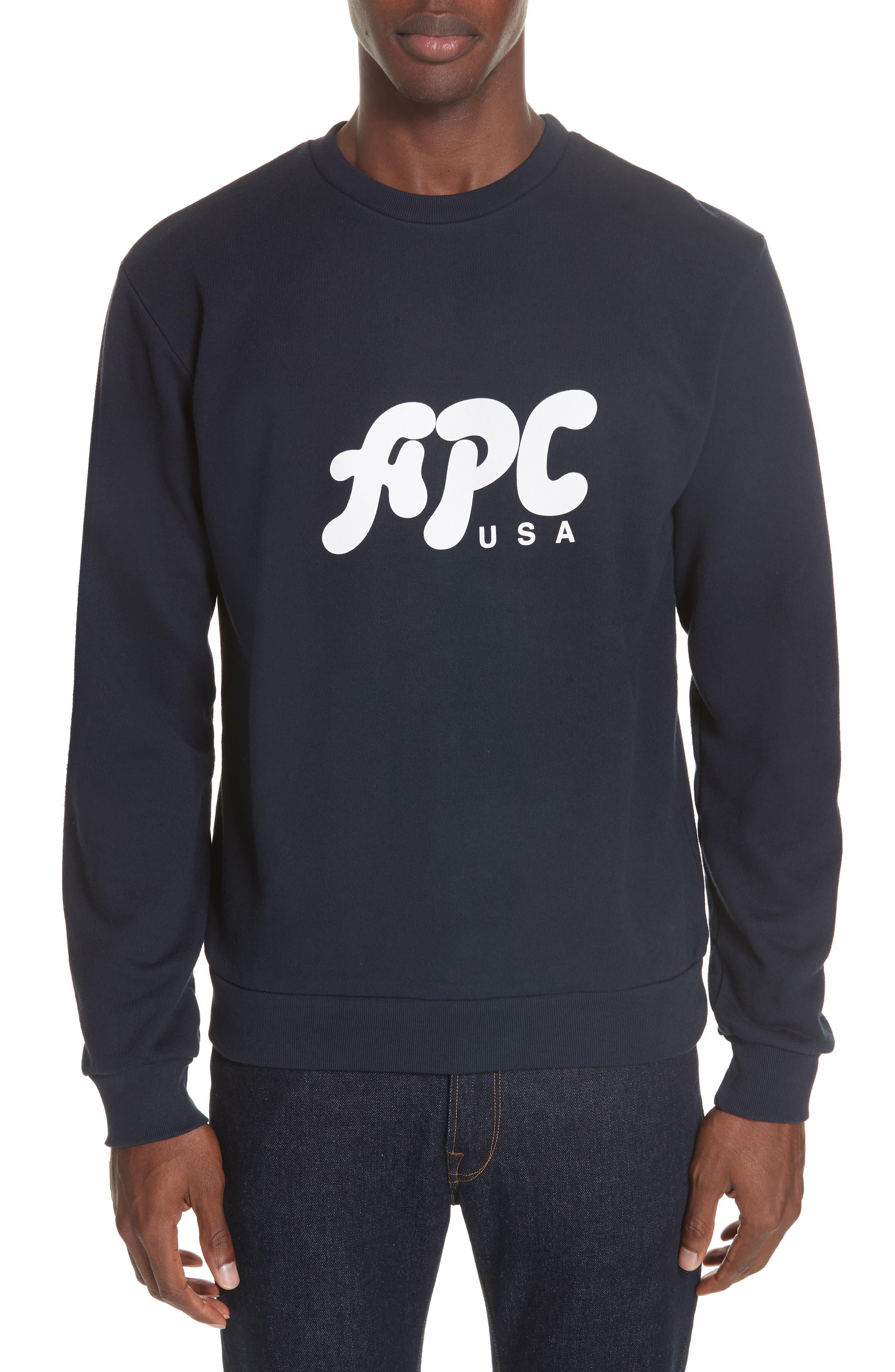 A.P.C. New Logo Crewneck Sweatshirt, Main, color, IAK NAVY
