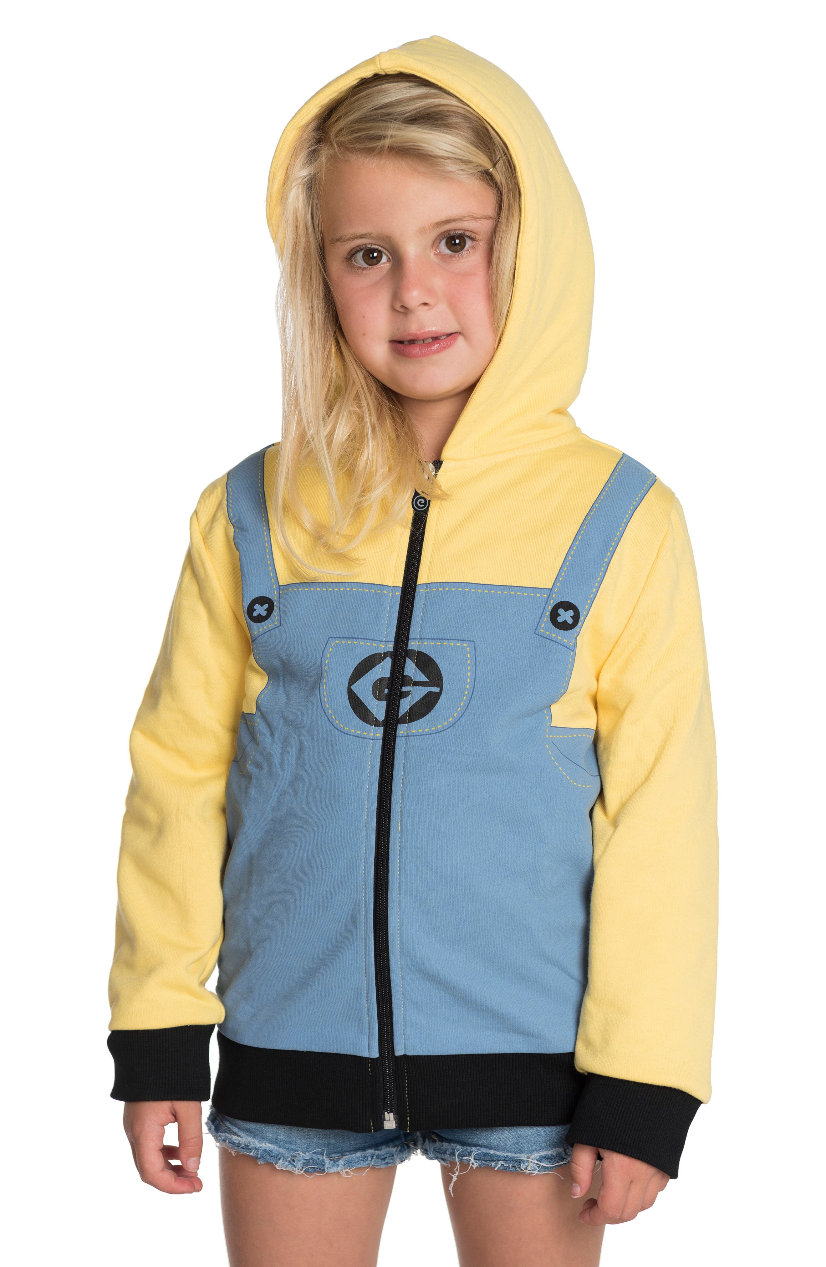 CUBCOATS, Minion Bob<sup>®</sup> 2-in-1 Stuffed Animal Hoodie, Alternate thumbnail 2, color, YELLOW / BLUE MIX
