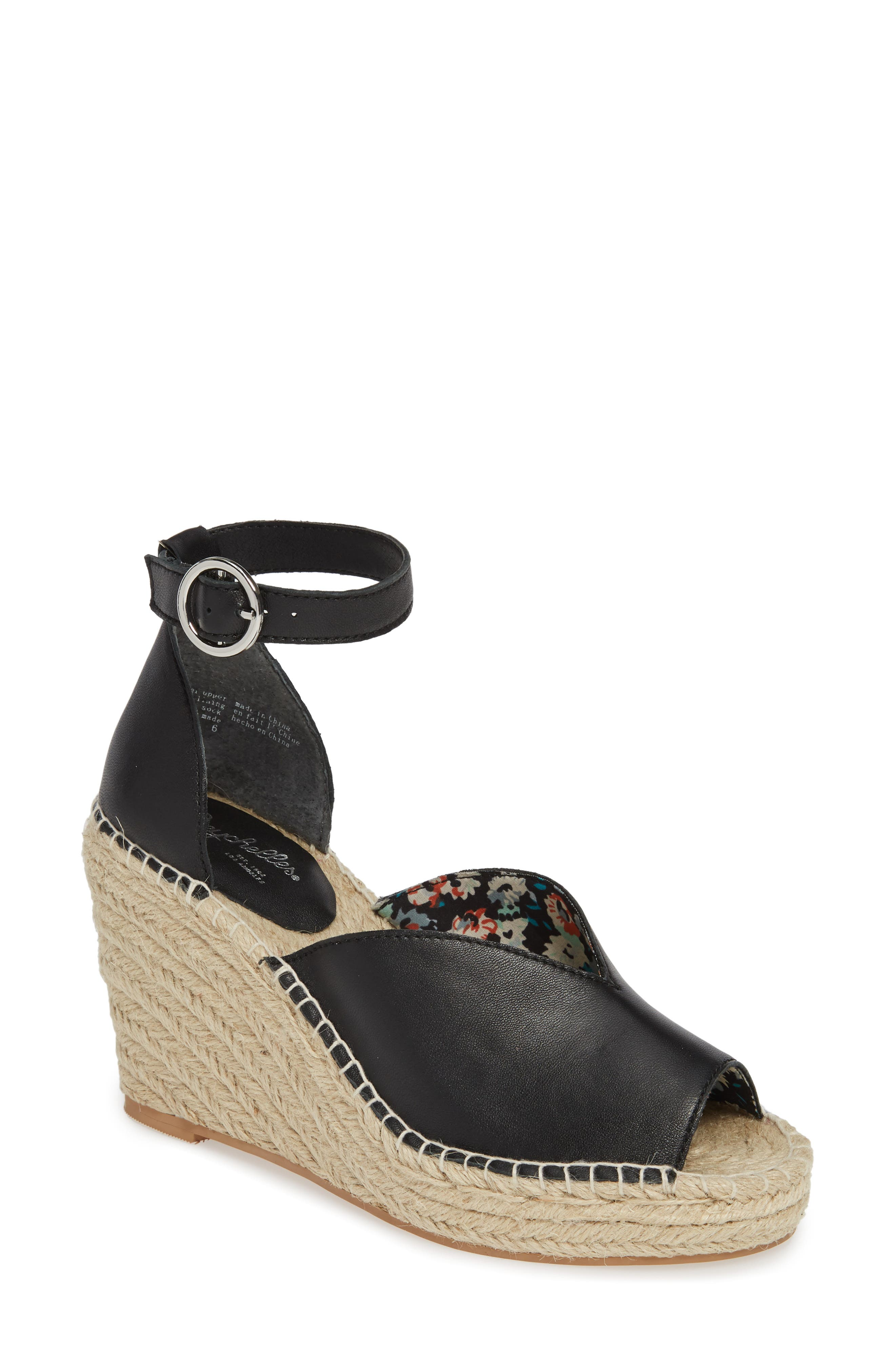 SEYCHELLES Collectibles Espadrille Wedge Sandal, Main, color, BLACK LEATHER